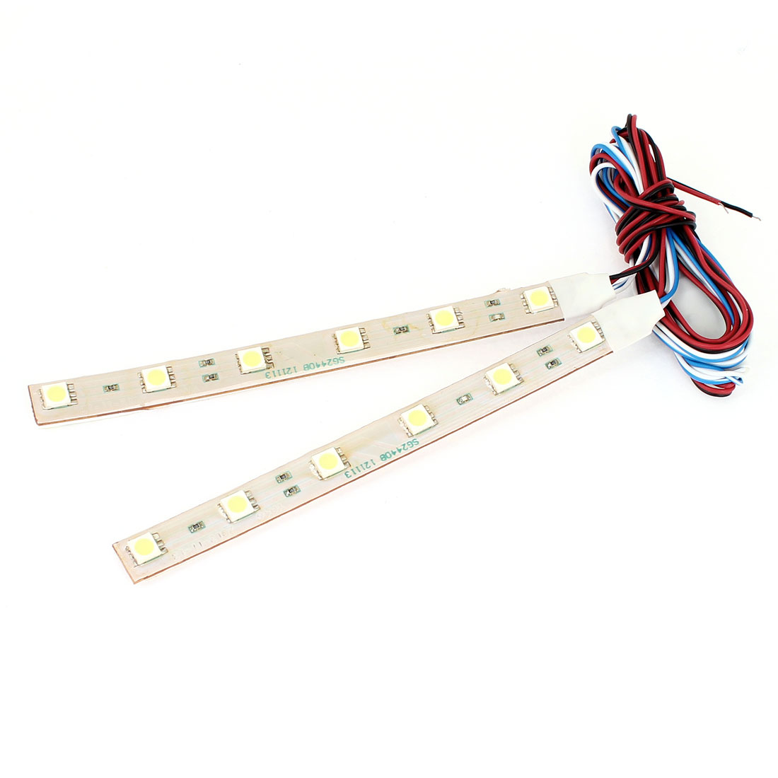 2 Pcs 13cm Adhesive Tape 6 White 5050 SMD LED Car Decorative Lamp Strap