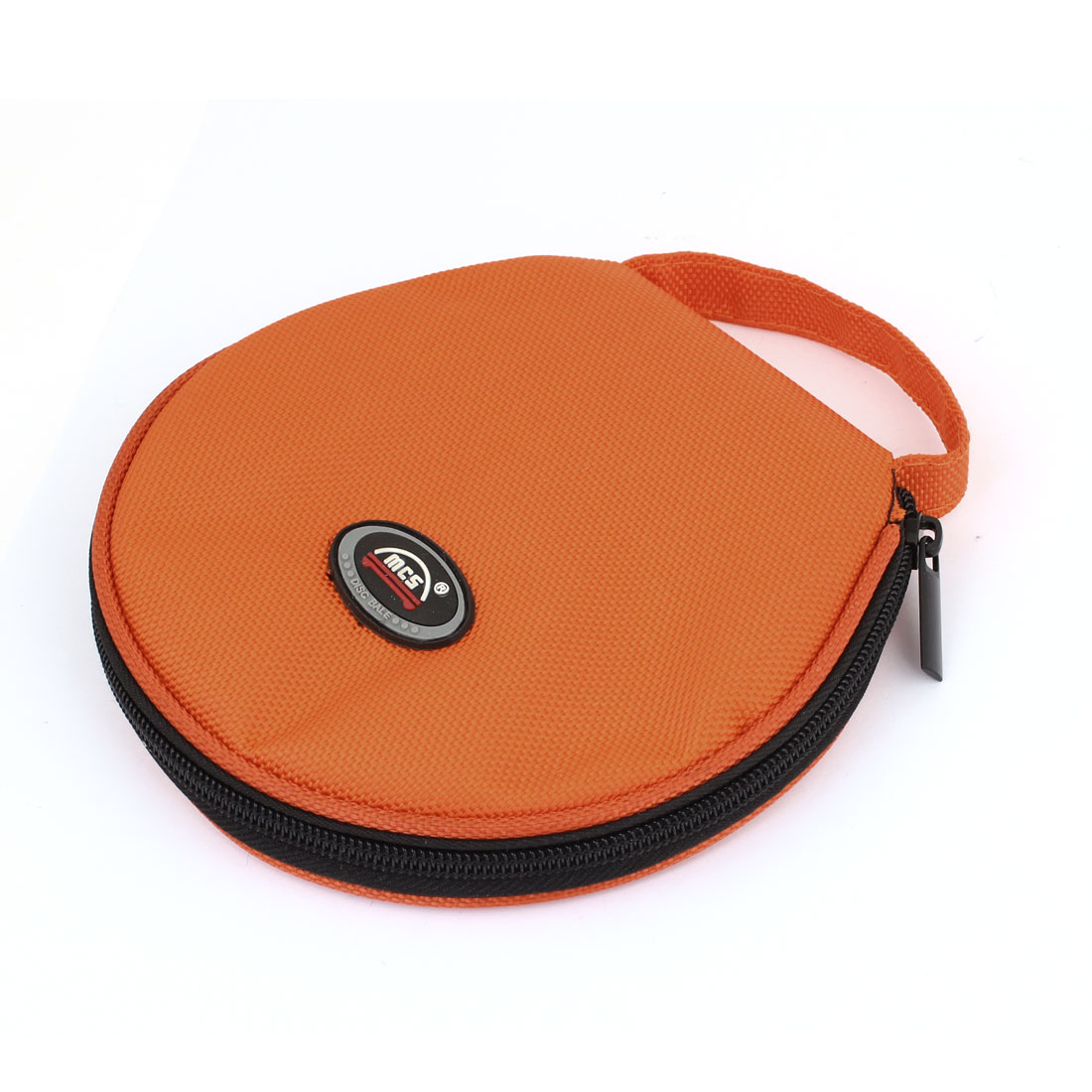 Orange Black Nylon Cover Zipper Plastic 20 Capacity CD DVD Holder Bag Case