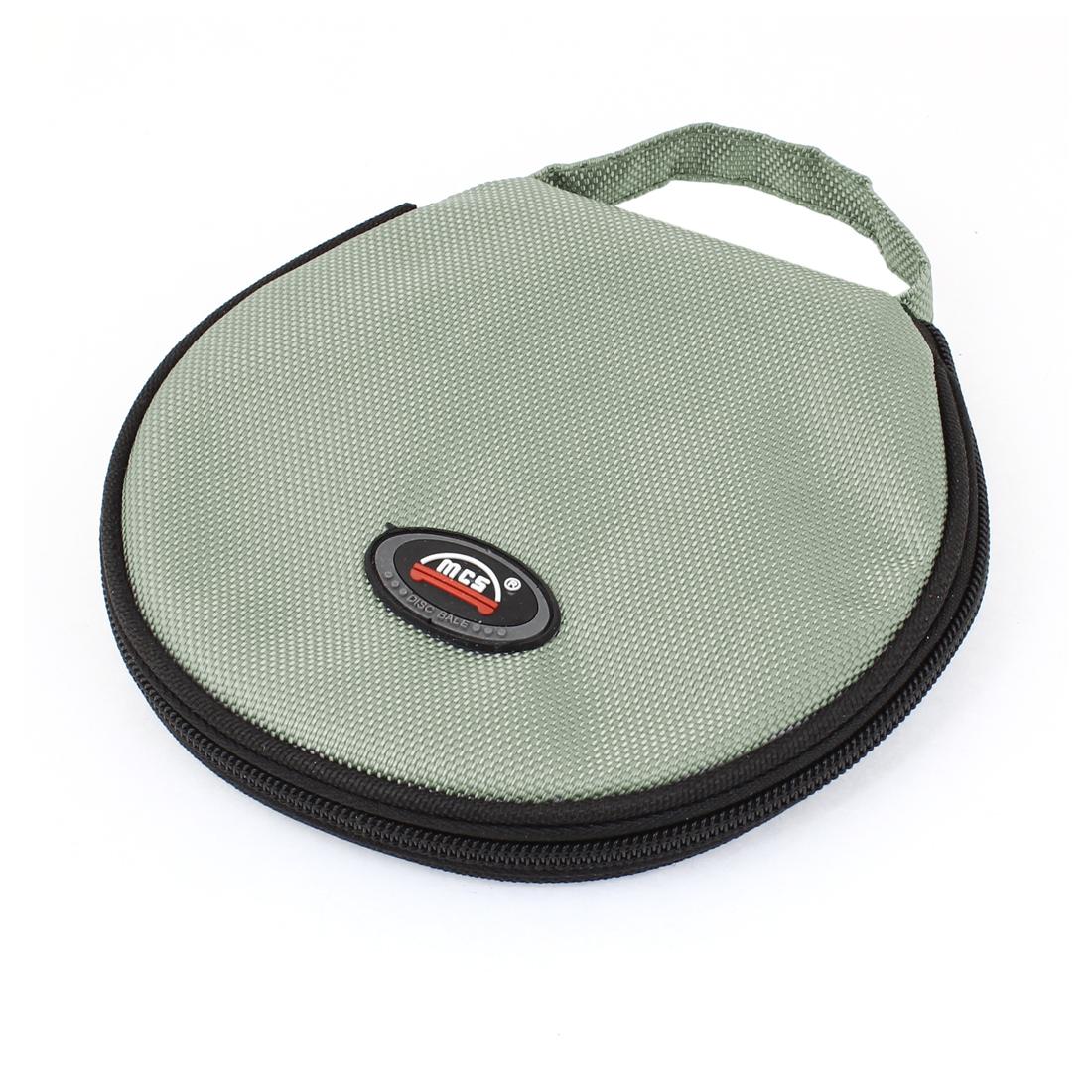 Gray Black Nylon Cover Zipper Plastic 20 Capacity CD DVD Holder Bag Case