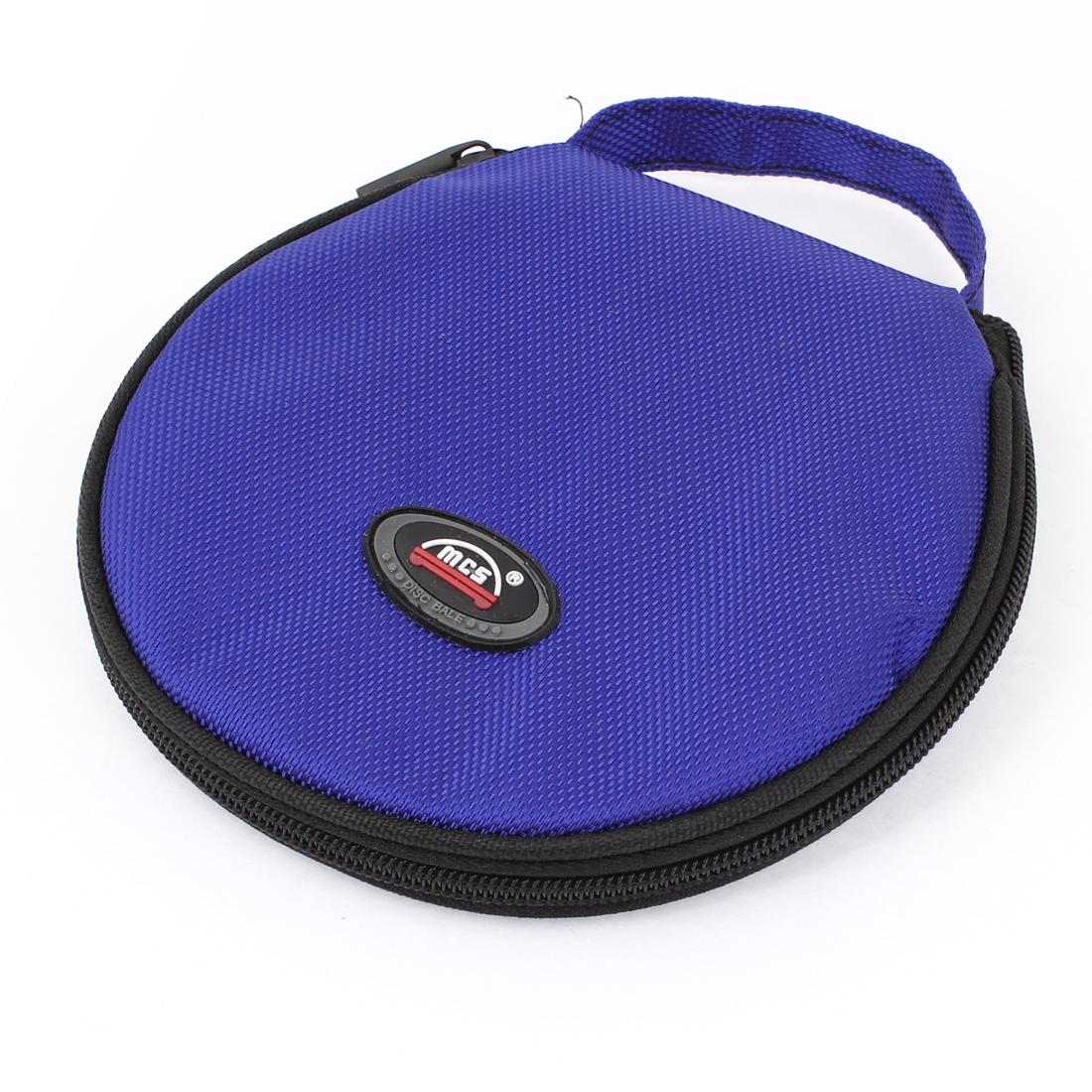 Blue Black Nylon Cover Zipper Plastic 20 Capacity CD DVD Holder Bag Case
