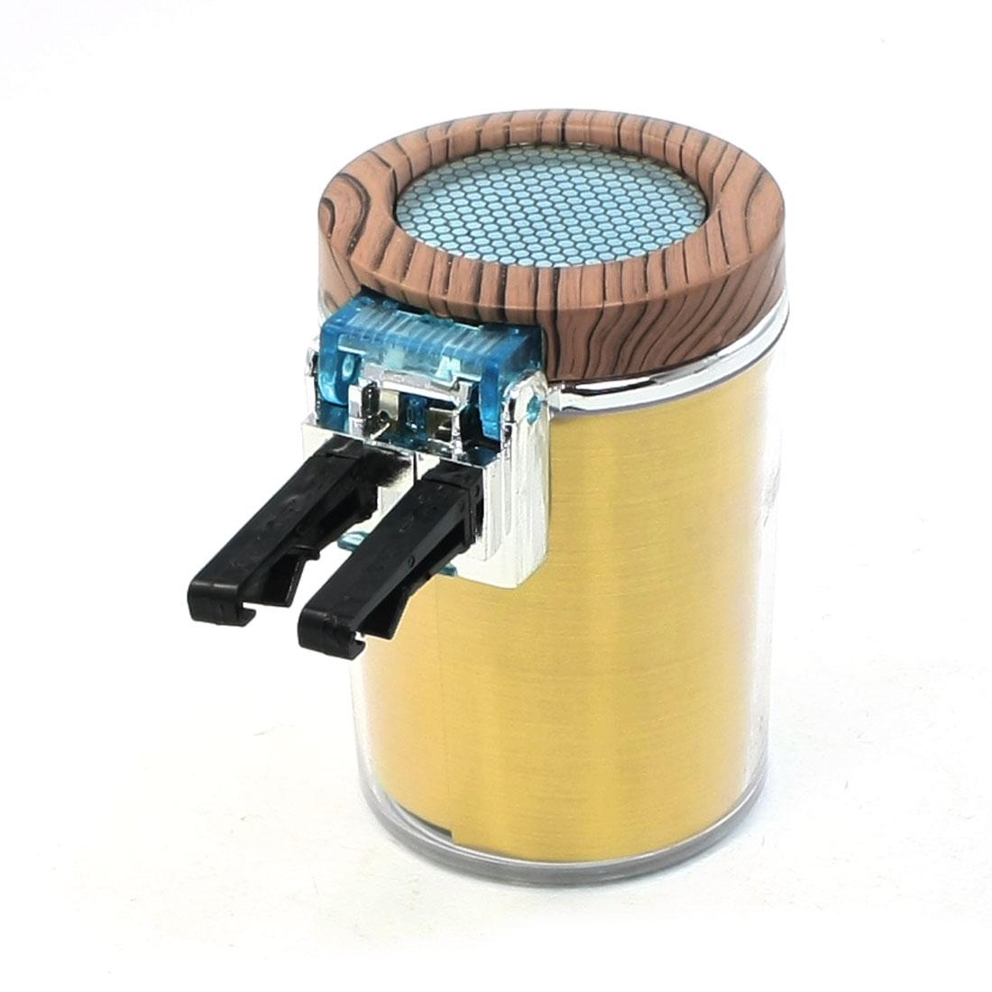 Blue LED Light Wood Color Lid Gold Tone Cylinder Ashtray for Car