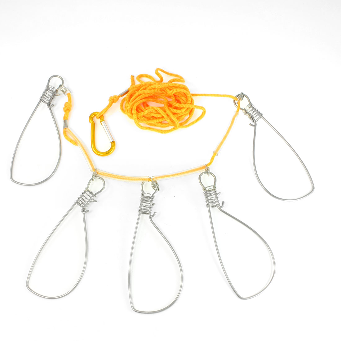 Gold Tone Safety Lobster Clip 3.6M Yellow String 5 Metal Snaps Fish Stringer