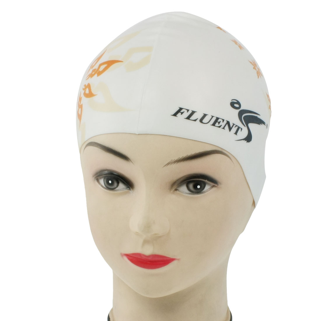 Orange Flower Pattern White Silicone Flexible Diving Swimming Cap