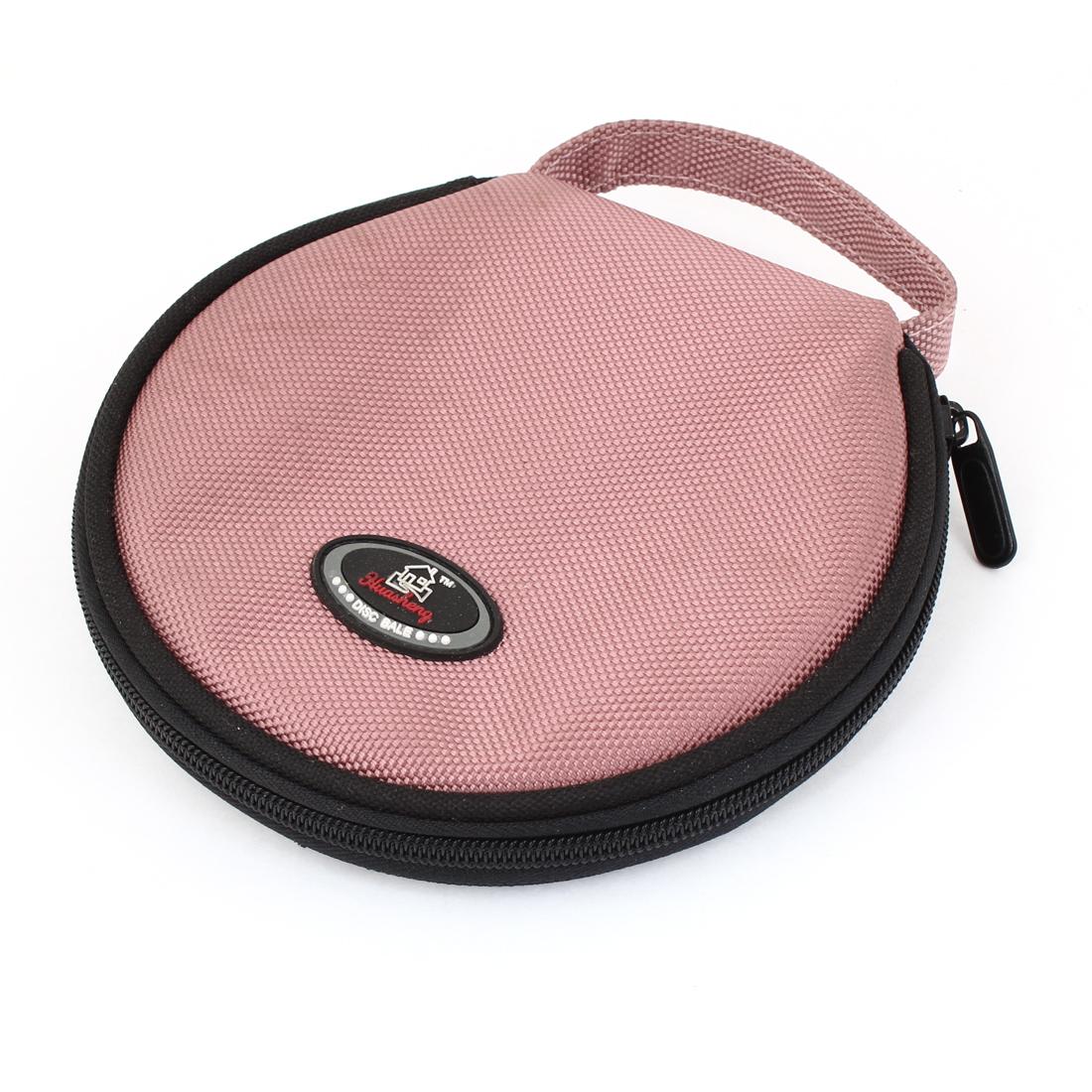 Zipper Closure Black Light Pink Nylon Shell 20 Capacity DVD CD Organizer Bag