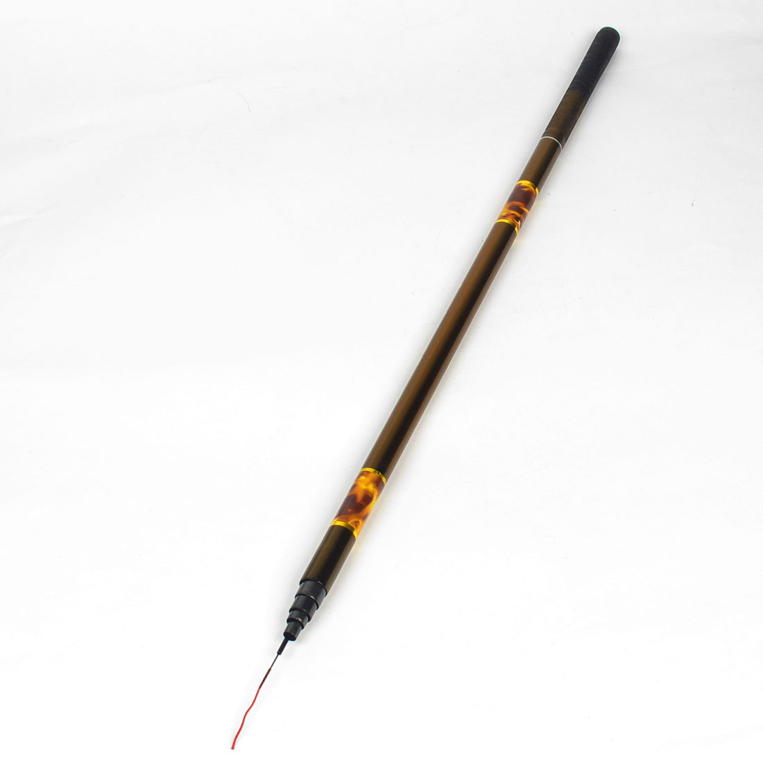 Gold Tone Black Carbon Fiber Telescopic 8 Section 12.1Ft 3.7M Fishing Pole
