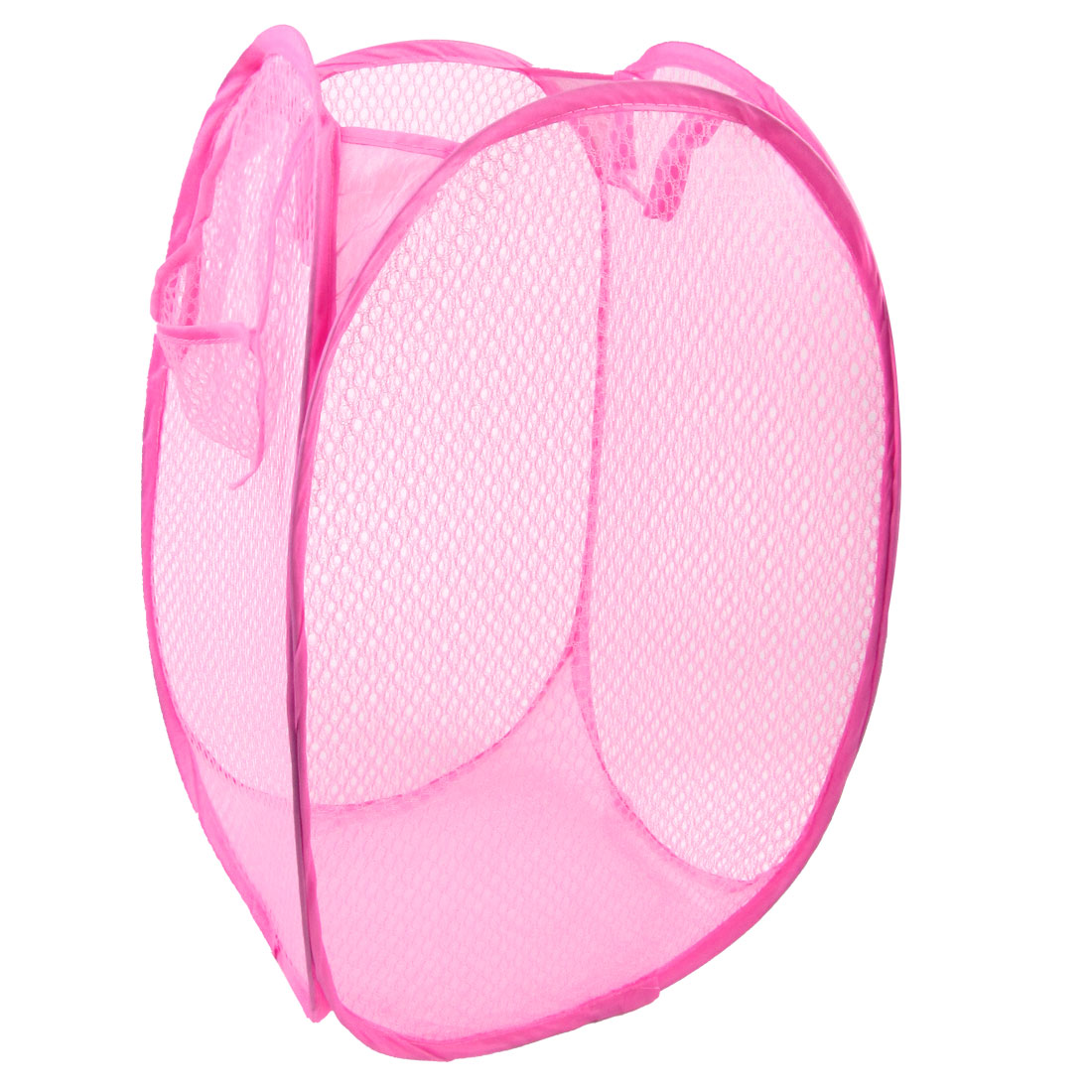 Home Laundry Foldable Mesh Nylon Underwear Clothing Washing Bag Pink