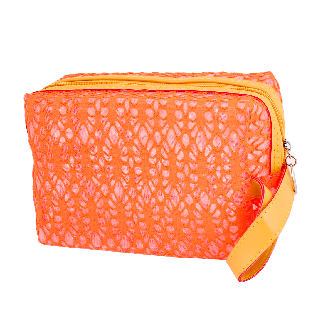 Zipper Closure Clear Soft Plastic Lining Makeup Bag Holder Orange Red for Lady