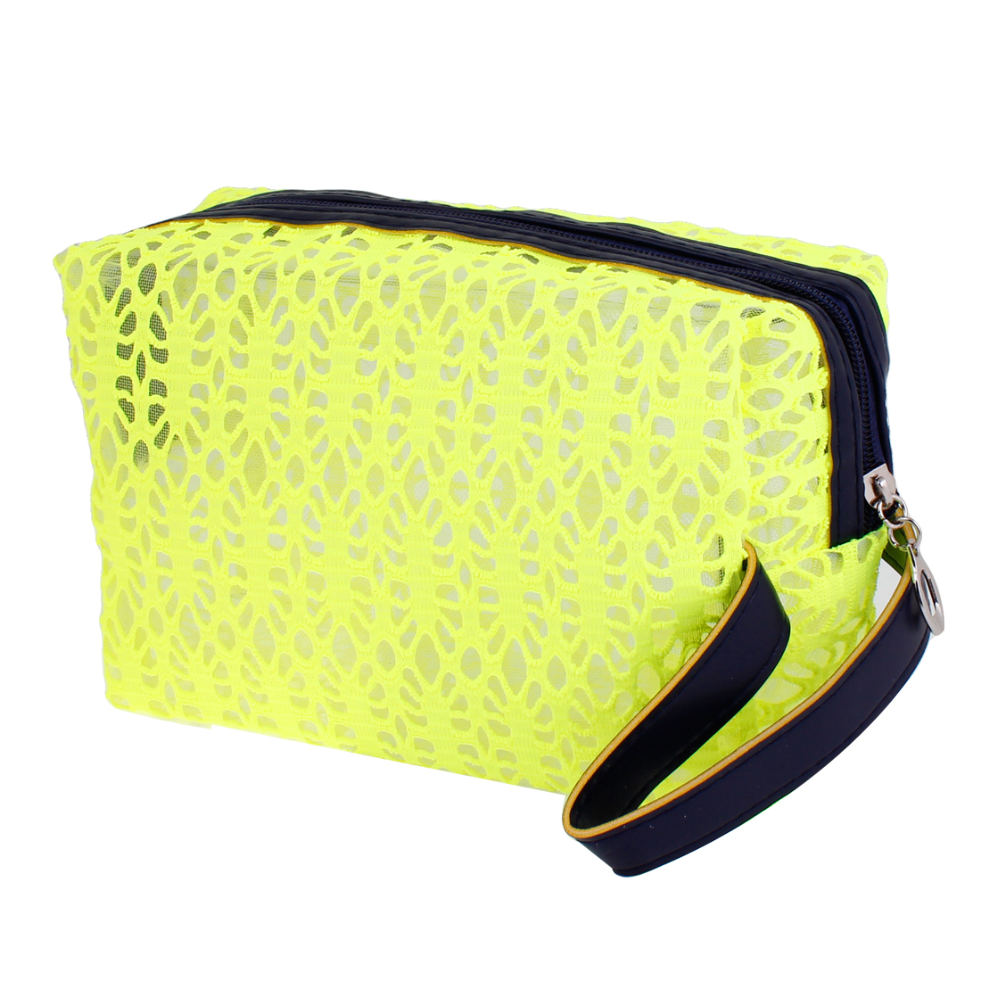 Lady Yellow Green Hollow Out Design Zip Up Cosmetic Bag Pouch Holder w Blue Strap