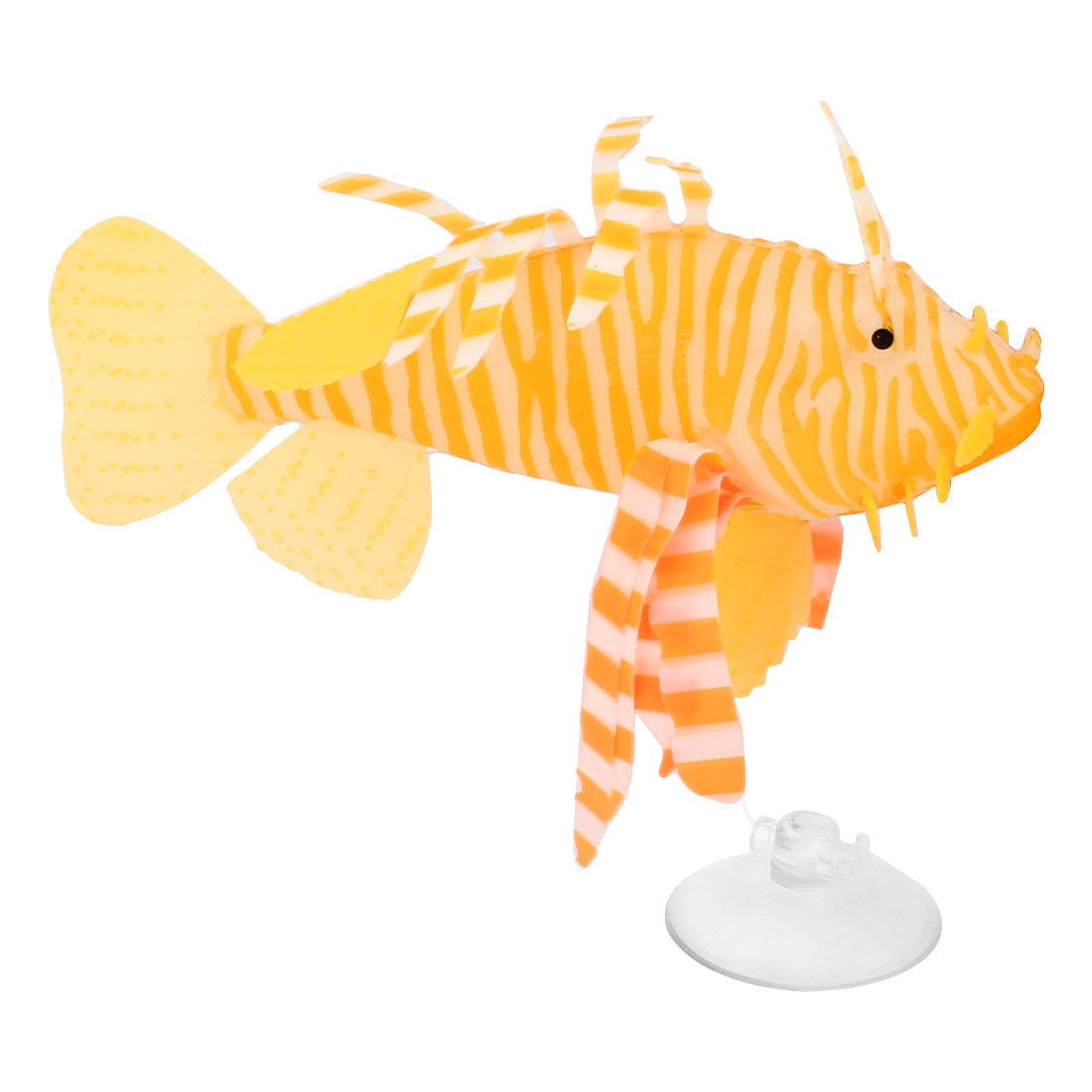 Orange White Silicone Tropical Fish Ornament w Suction Cup for Fish Tank