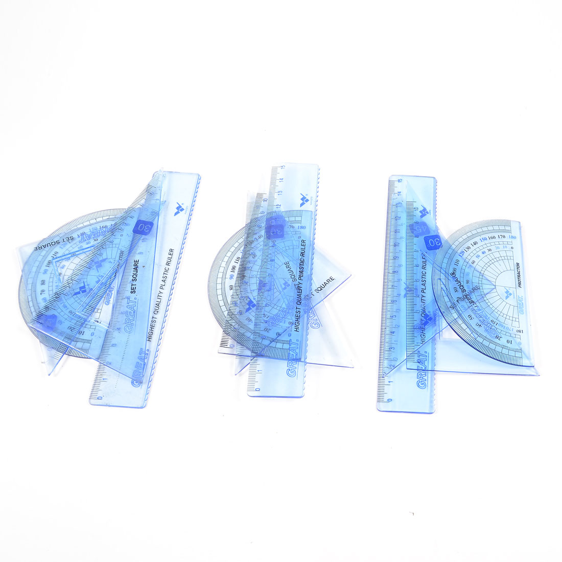 3 Sets 4 in 1 Plastic Clear Blue Protracto 15 cm Ruler Combination Set for Students