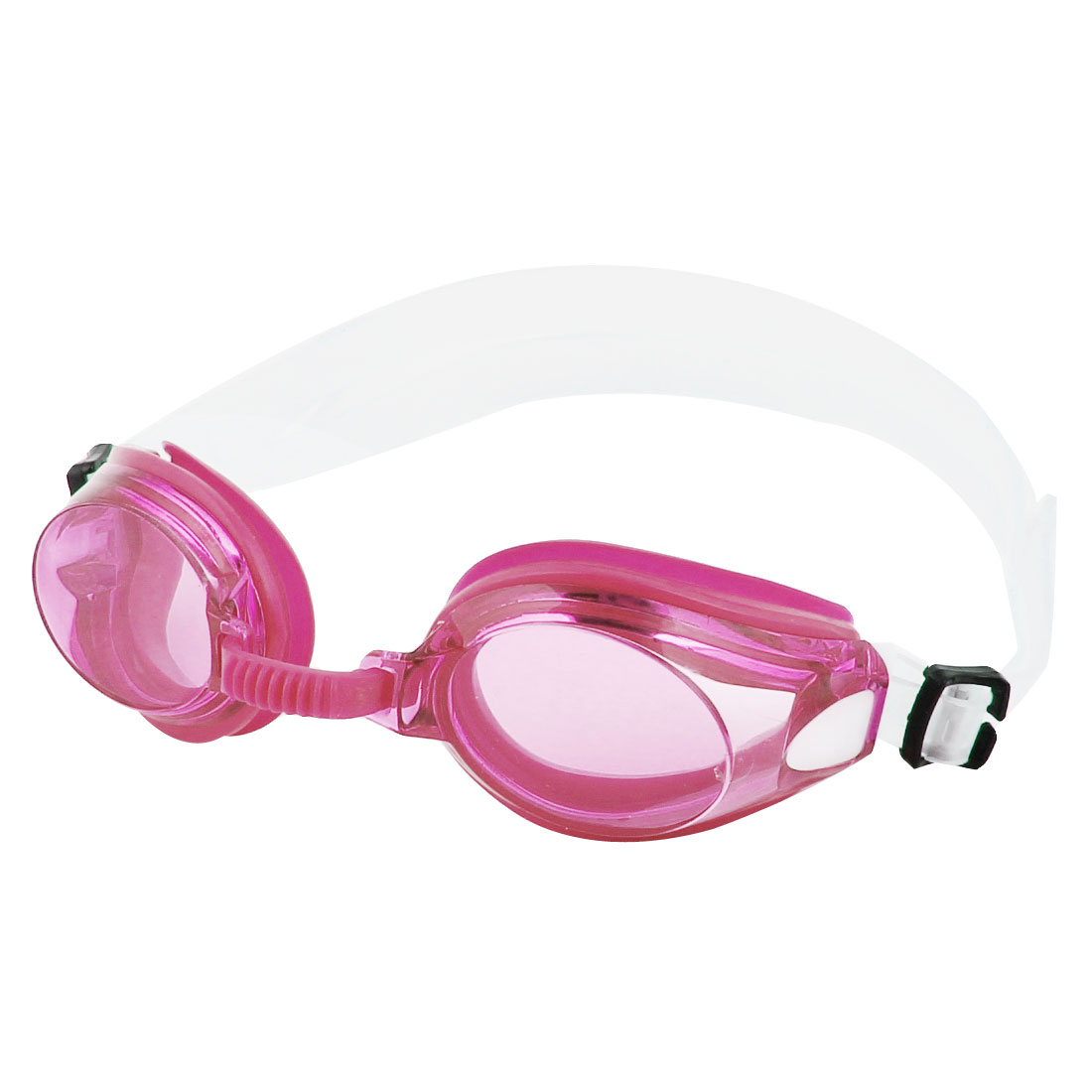 Plastic Silicone Protective Swimming Goggles Pink w Earplug for Unisex