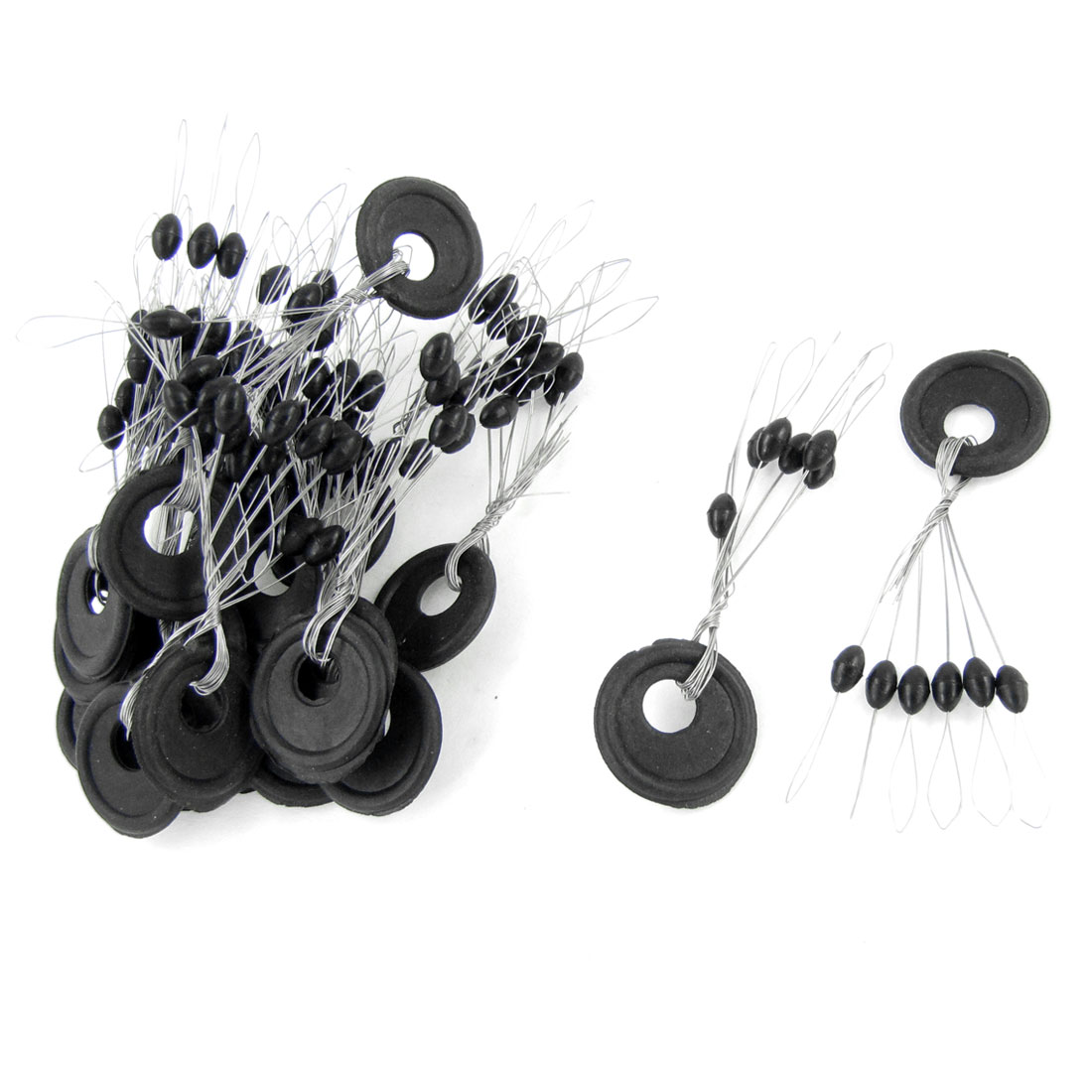 20 Pcs Size L 6 in 1 Round Shape Black Rubber Stopper Bead Fishing Bobber