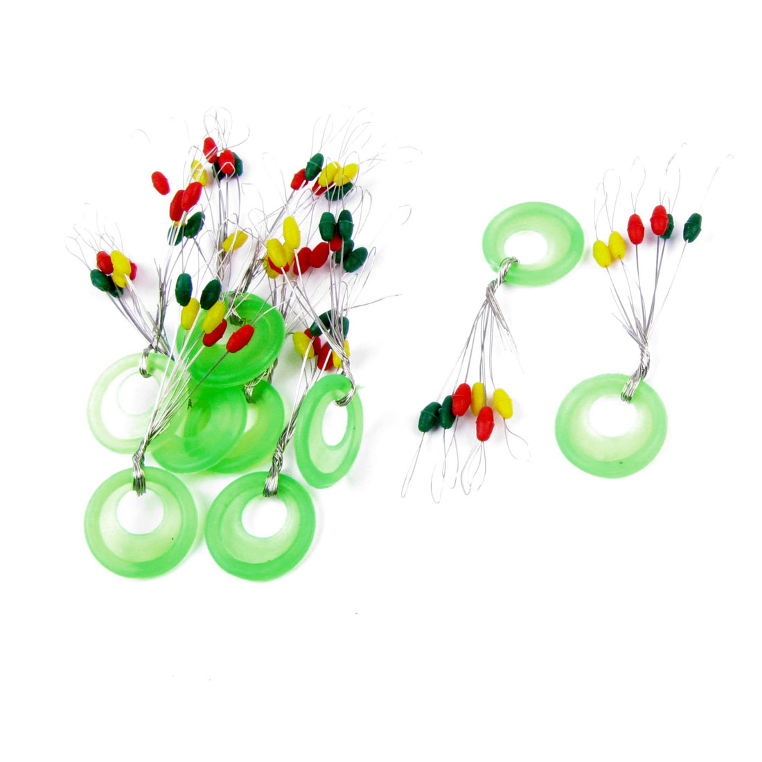 10 x Colorful Round Rubber Stopper 6 in 1 Fishing Floater Bobber Sinker Size S 0.5g Per Piece
