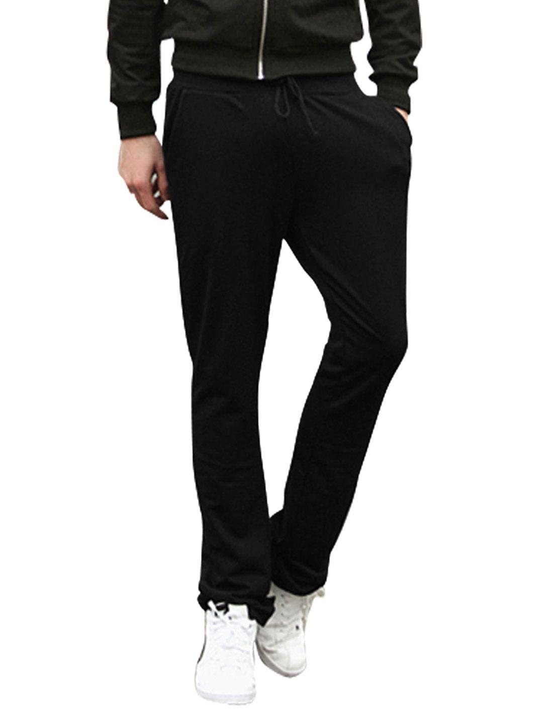 Men Drawstring Waist Slant Pockets Casual Pants Black W30
