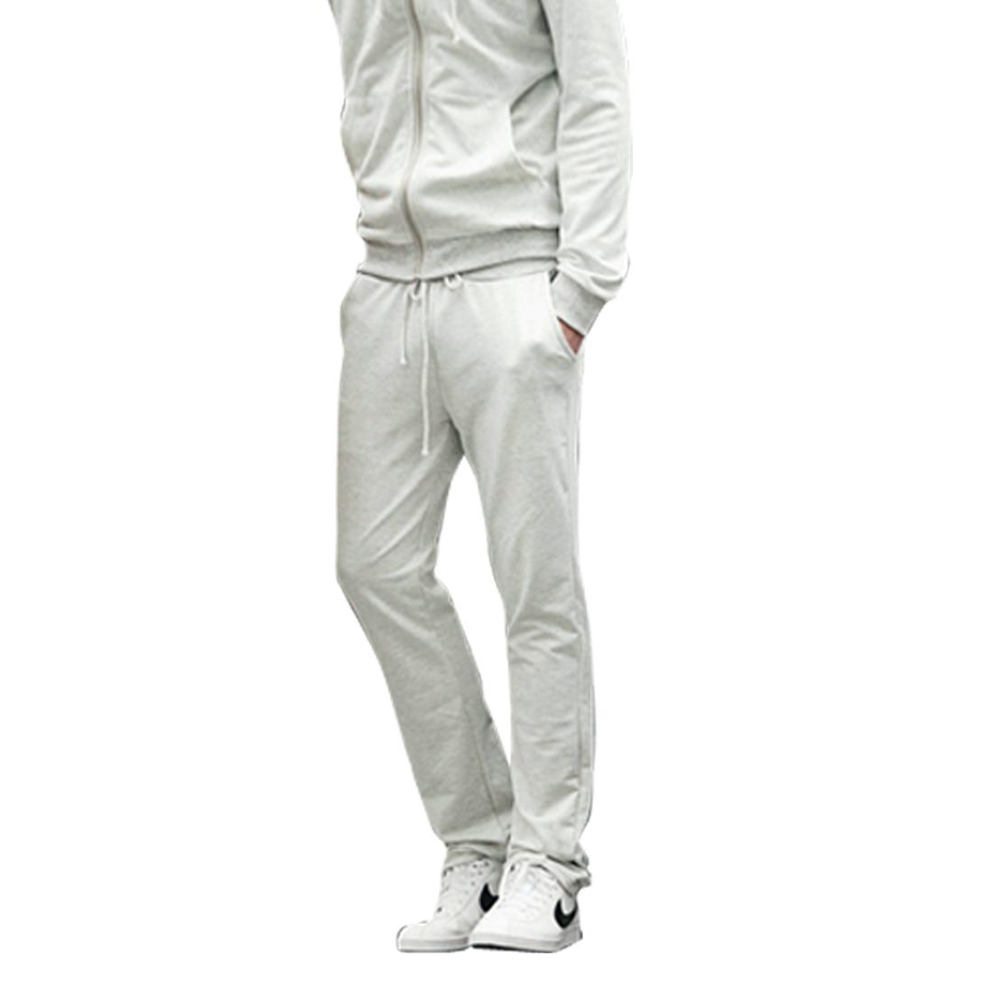 Men Elastic Waist Spring Wearing Pants Light Gray W30