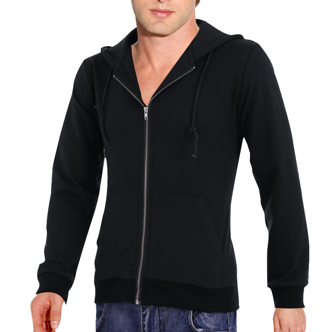 Man Solid Color Zipper Front Long-sleeved Stylish Hoody Dark Blue M