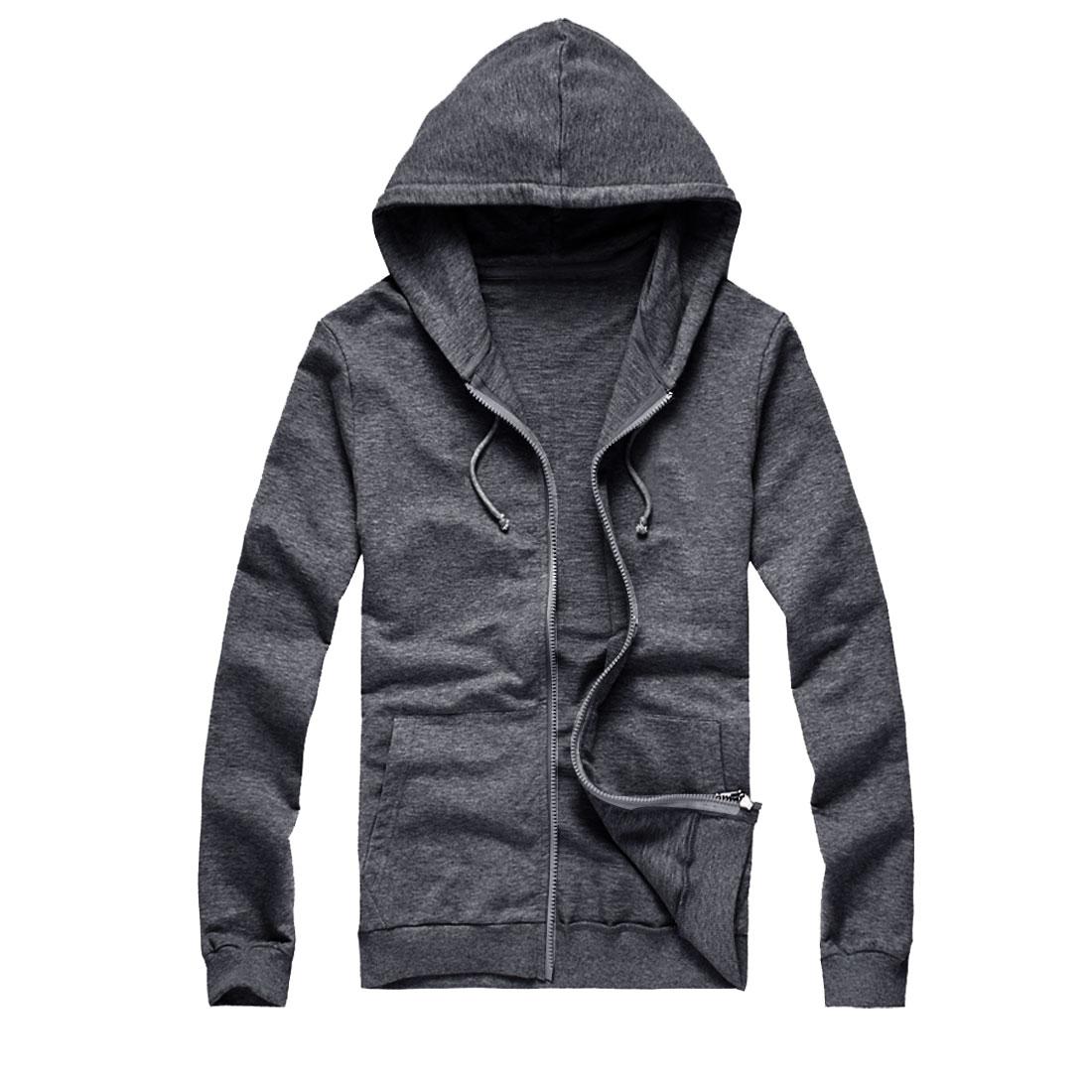 Men Zipper Front Drawstring Slant Pockets Thick Hoody Dark Gray M