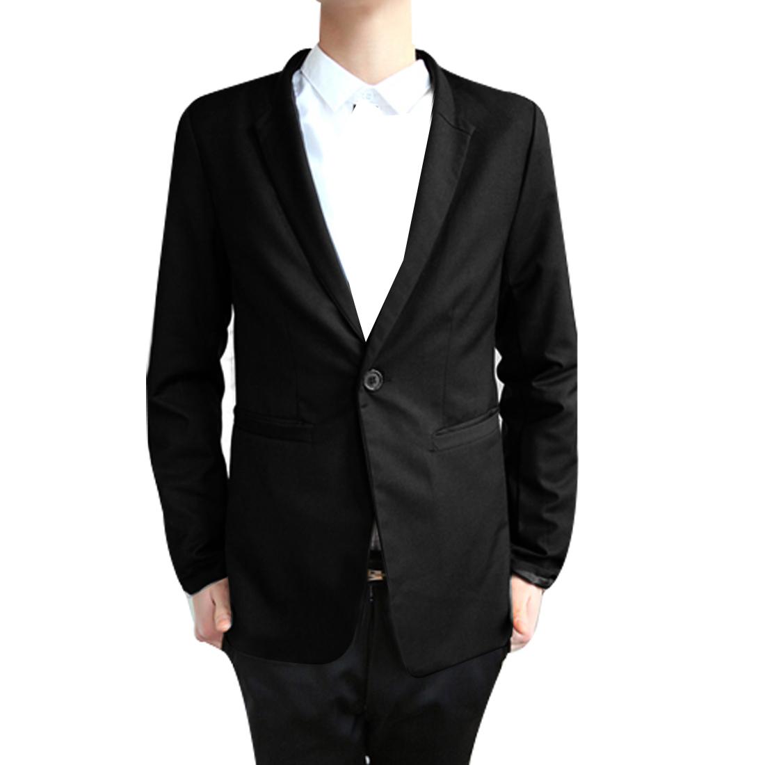 Men Peaked Lapel One Button Closure Pockets Blazer Black M