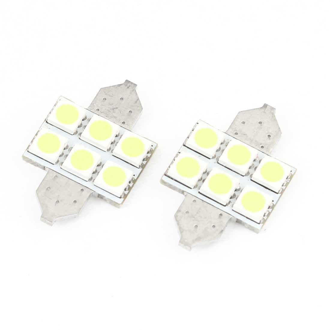 31mm Canbus White 6 5050 SMD DE3021 Festoon LED Light 2 Pcs for Car Roof Lamp