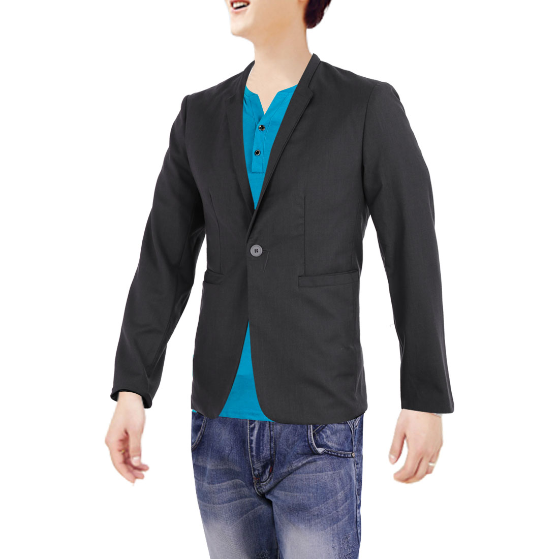 Men Peaked Lapel Button Up Long Sleeve Blazer Dark Gray M