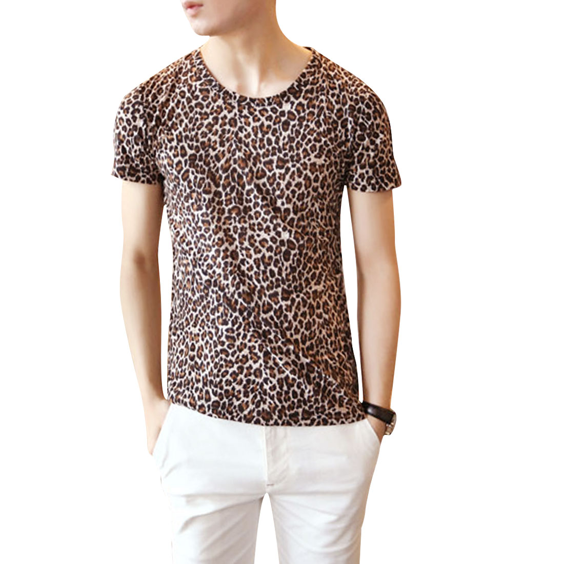 Men Leopard Pattern Round Neck Stretchy T-Shirt Brown S