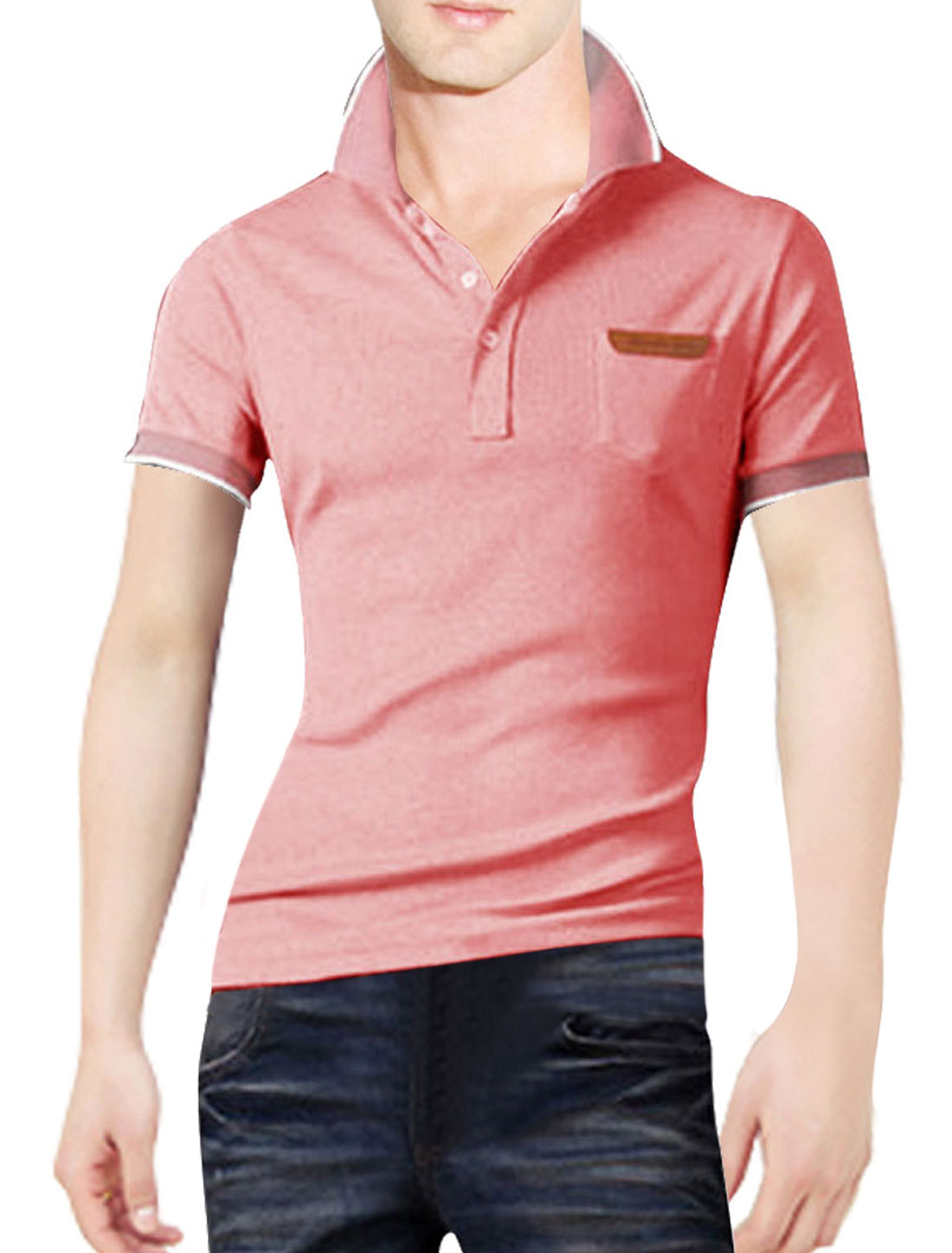 Men Pockets Single Breasted Point Collar Polo Spring Shirt Pink M