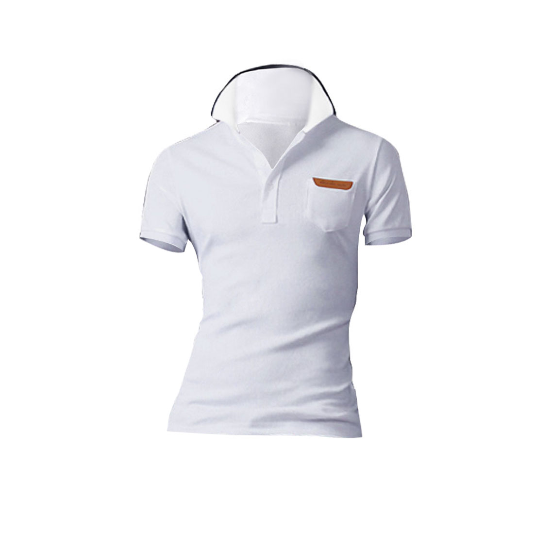 Men Color Contrast Short-sleeved Buttons Up Front Shirts White M