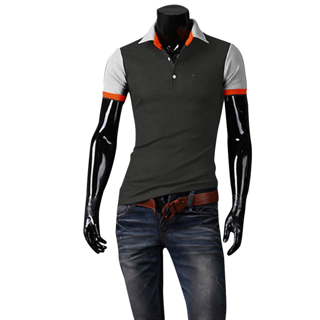 Man Korean Style Short Sleeved Point Collar Chic Shirt Dark Gray M