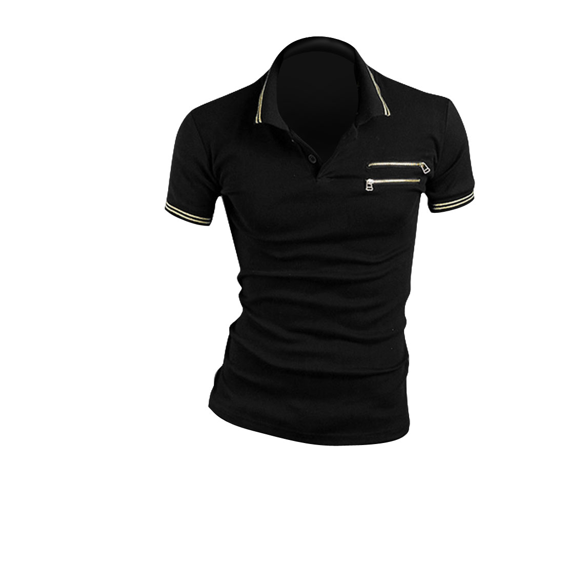 Man Korean Zippers Decor Short Sleeved Point Collar Shirt Black M