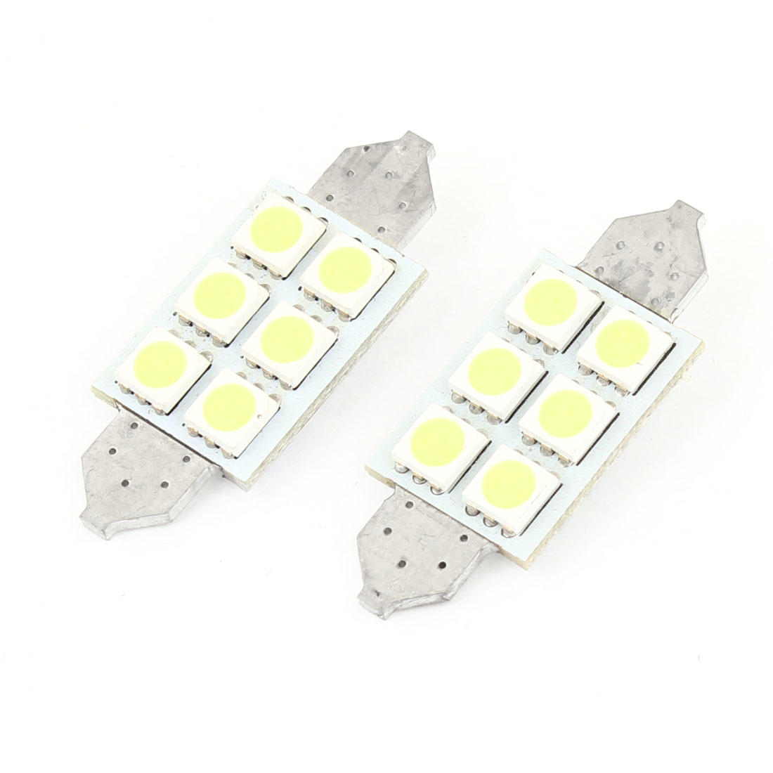 Auto No Error White 6 5050 SMD Festoon LED Light Dome Lamp Bulb 39mm 2pcs