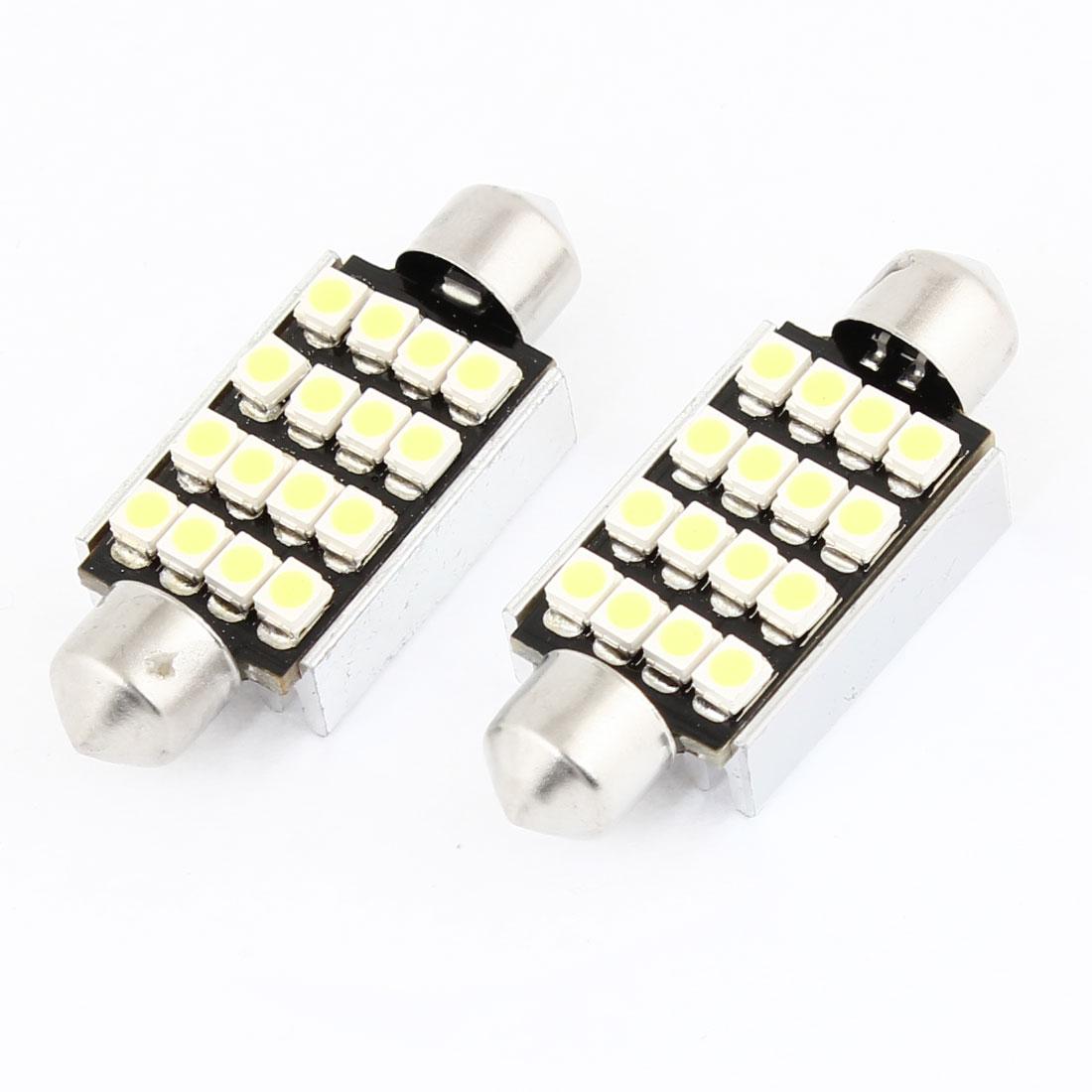 2 Pcs 41mm No Error White 16 LED 3528 SMD Festoon Light Dome Lamp Bulb for Car