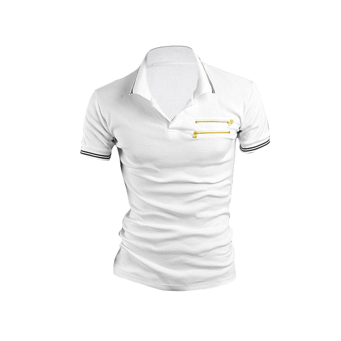 Men Pocket Single Breasted Point Collar Polo Spring Shirt White M