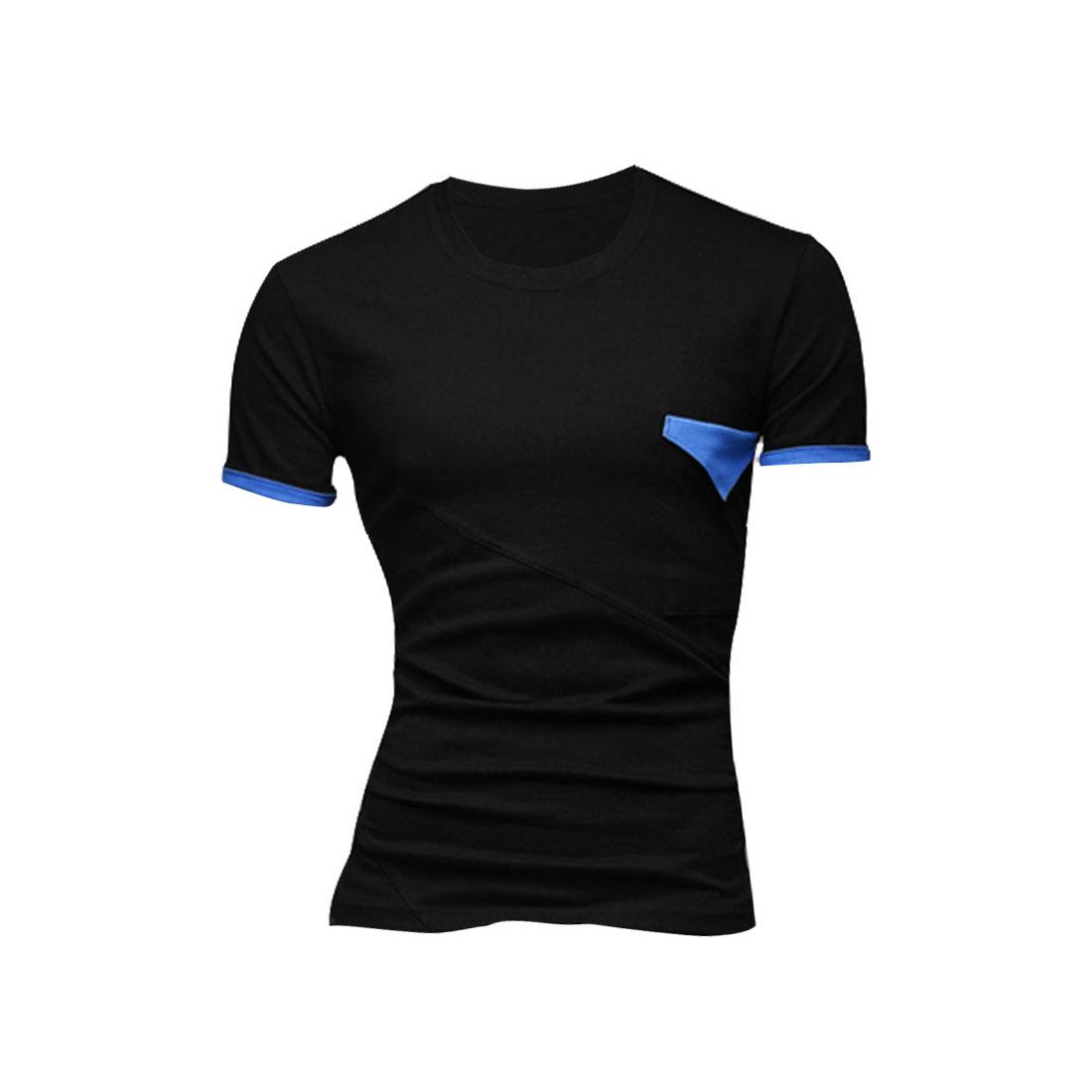 Men Round Neck Short Sleeve Chest Pocket Shirt Black M