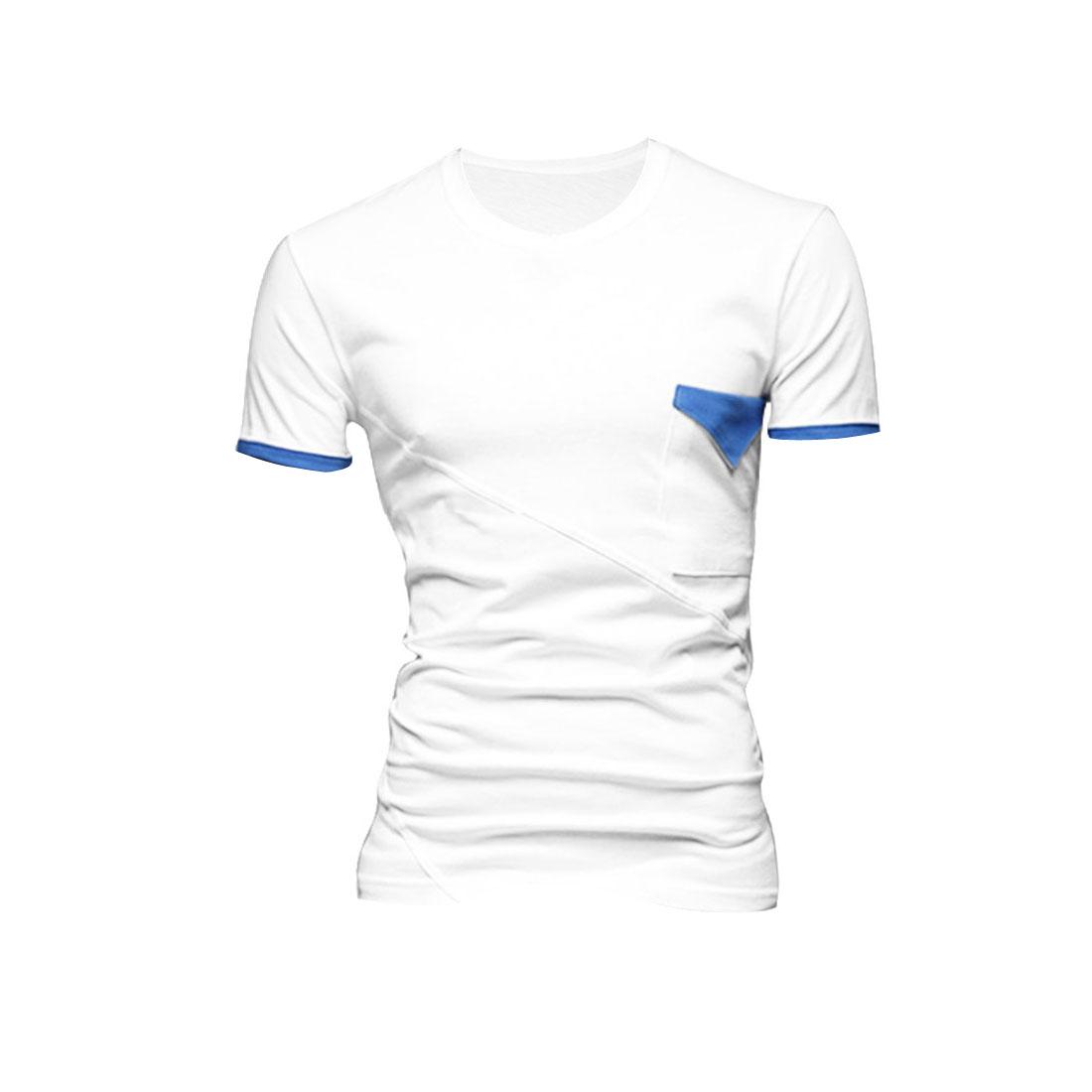 Men Round Neck Splice Cuffs Stretchy Shirt White M