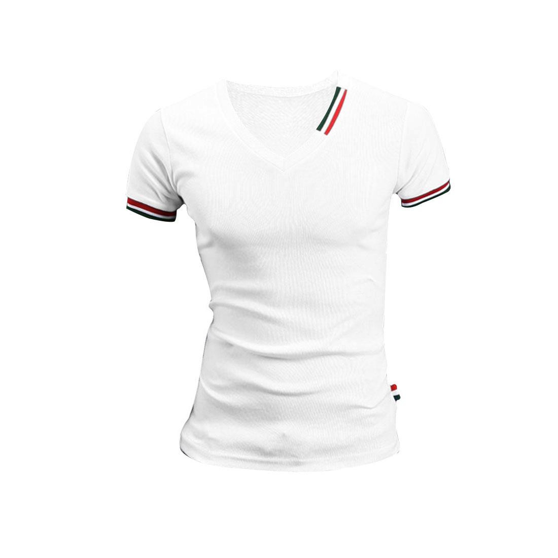 Men Short Sleeve Stripes Detail Casual Shirt White M