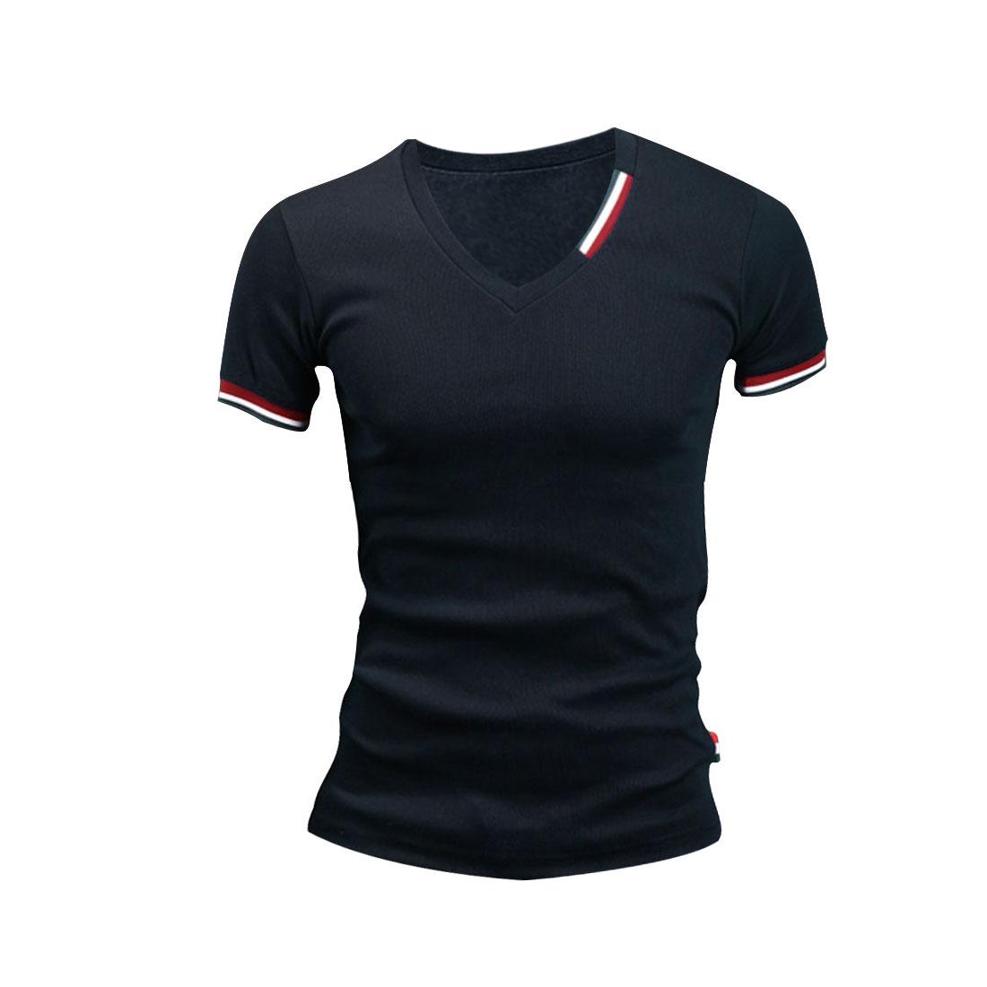 Men V Neck Pullover Stripes Detail Summer Wearing Shirt Navy Blue M