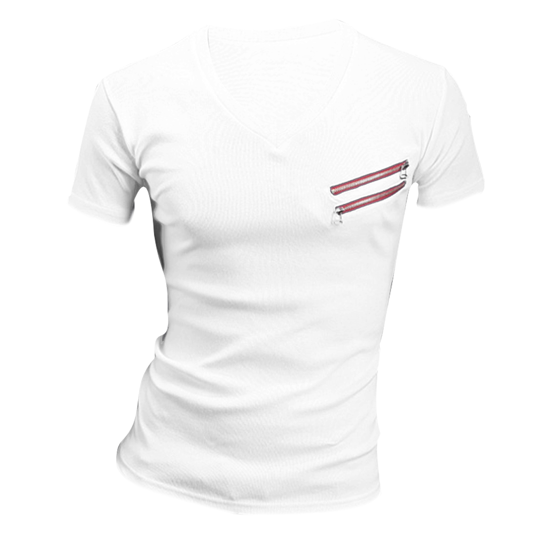 Men Chic V Neck Short Sleeve Slant Zipper Front Decor Slim Fit White Shirt M
