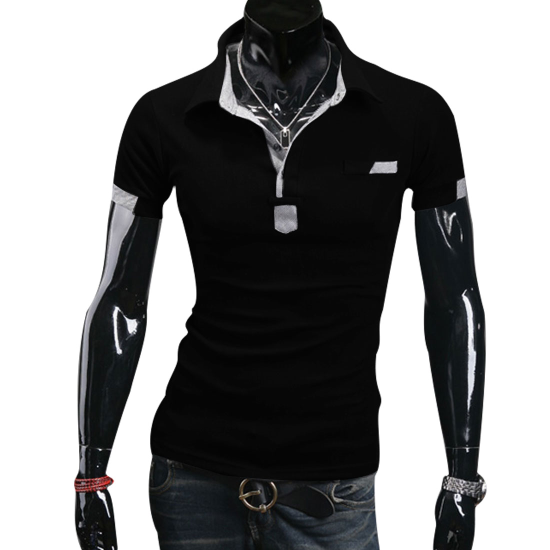 Men Newly Short Sleeve Fake Chest Pocket Design Black Casual Polo Shirt L