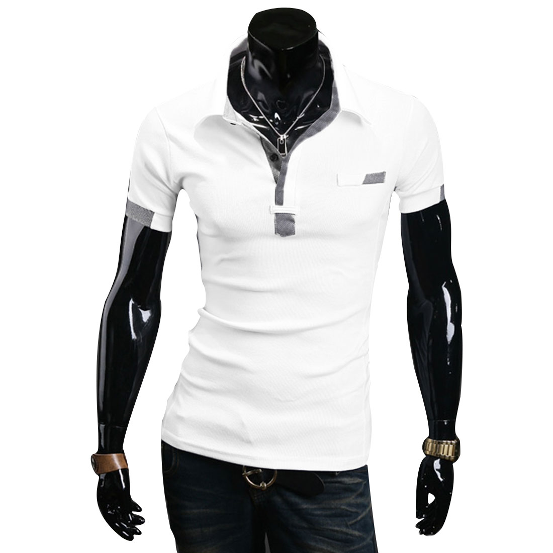 Mens Chic Point Collar Short Sleeve Slim Fit Splice White Casual Polo Shirt L