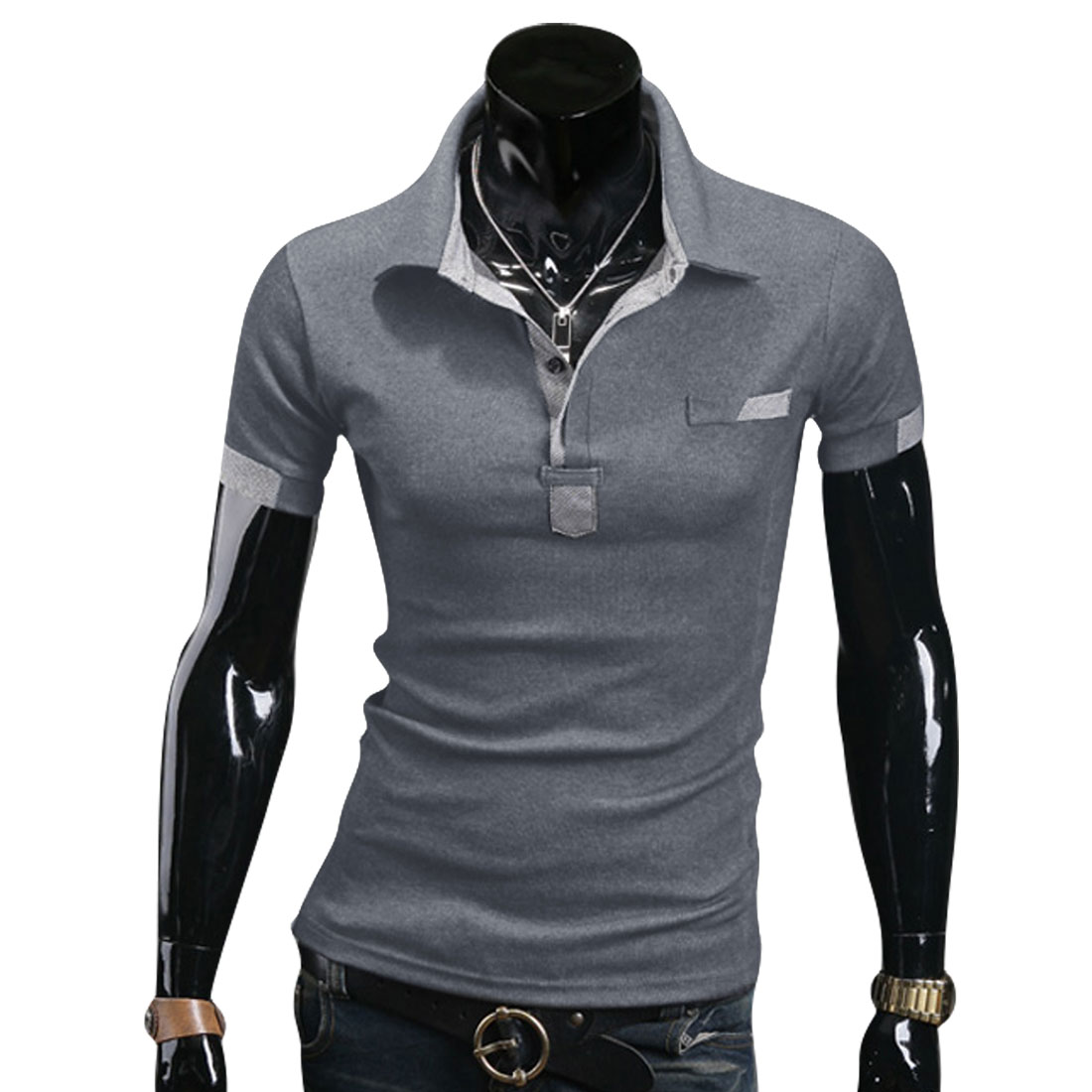 Stylish Mans Gray Point Collar Short Sleeve Fake Chest Pocket Polo Shirt L