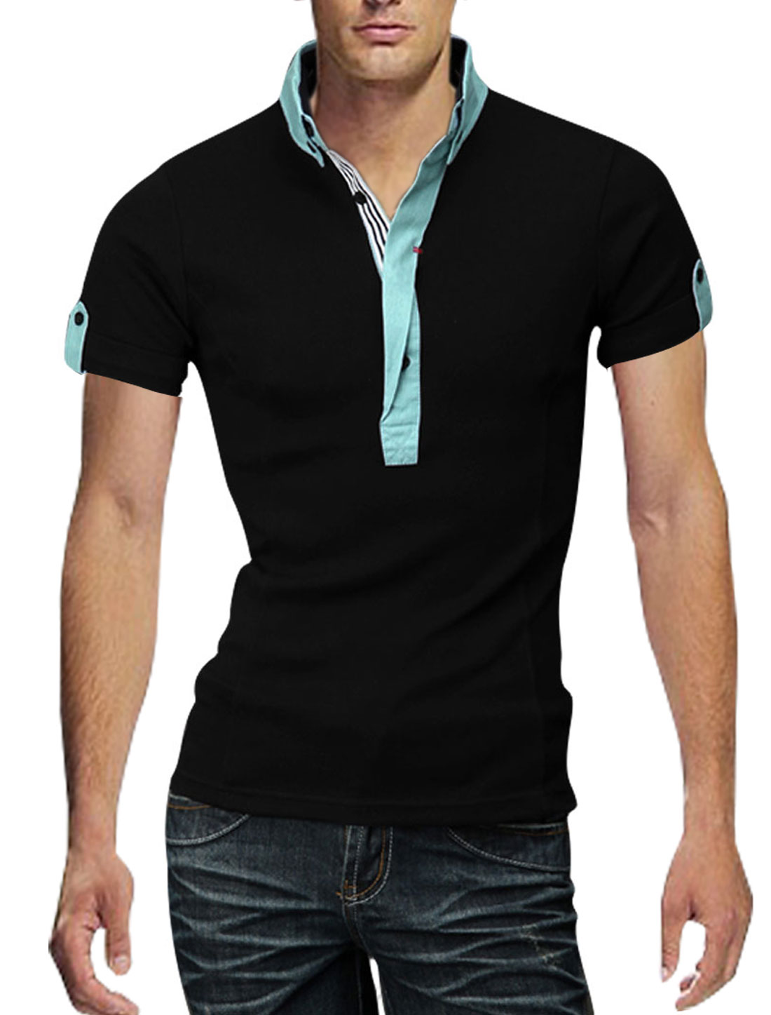 Man Chic Point Collar Short Sleeve Button Front Splice Black Polo Shirt L