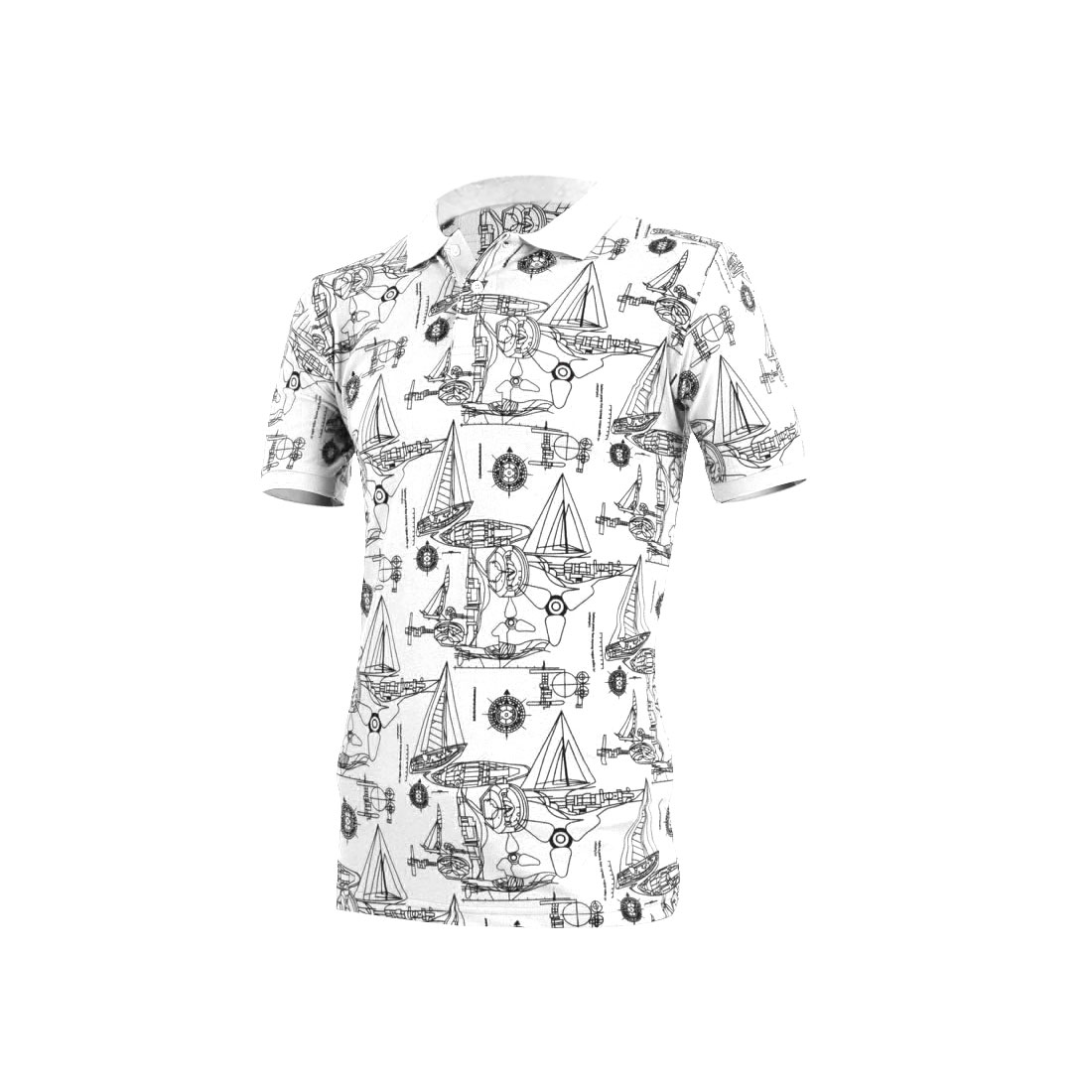 Men Convertible Collar Geometric Prints Shirt White S