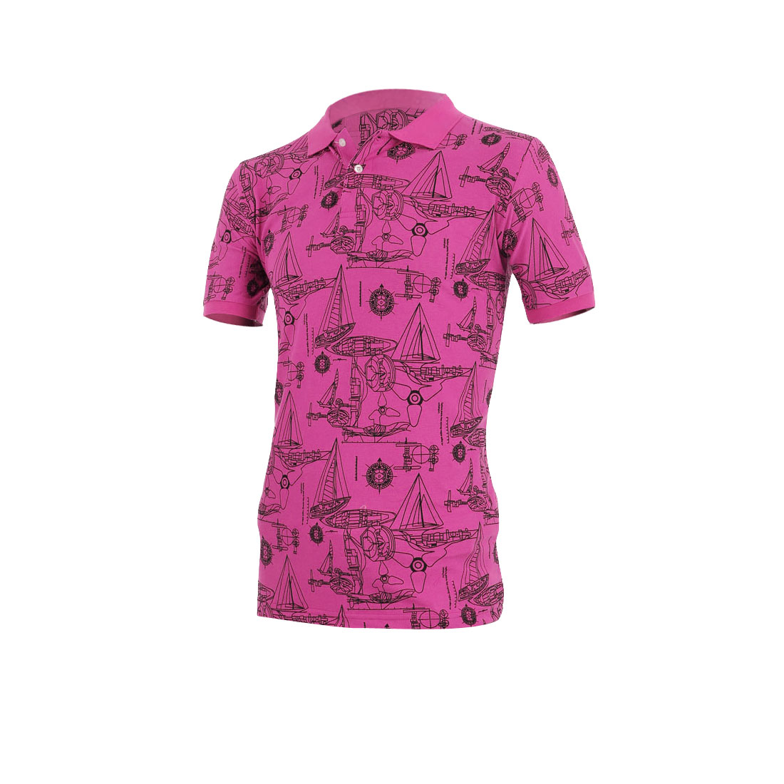 Men Convertible Collar Short Sleeve Stretchy Shirt Fuchsia M