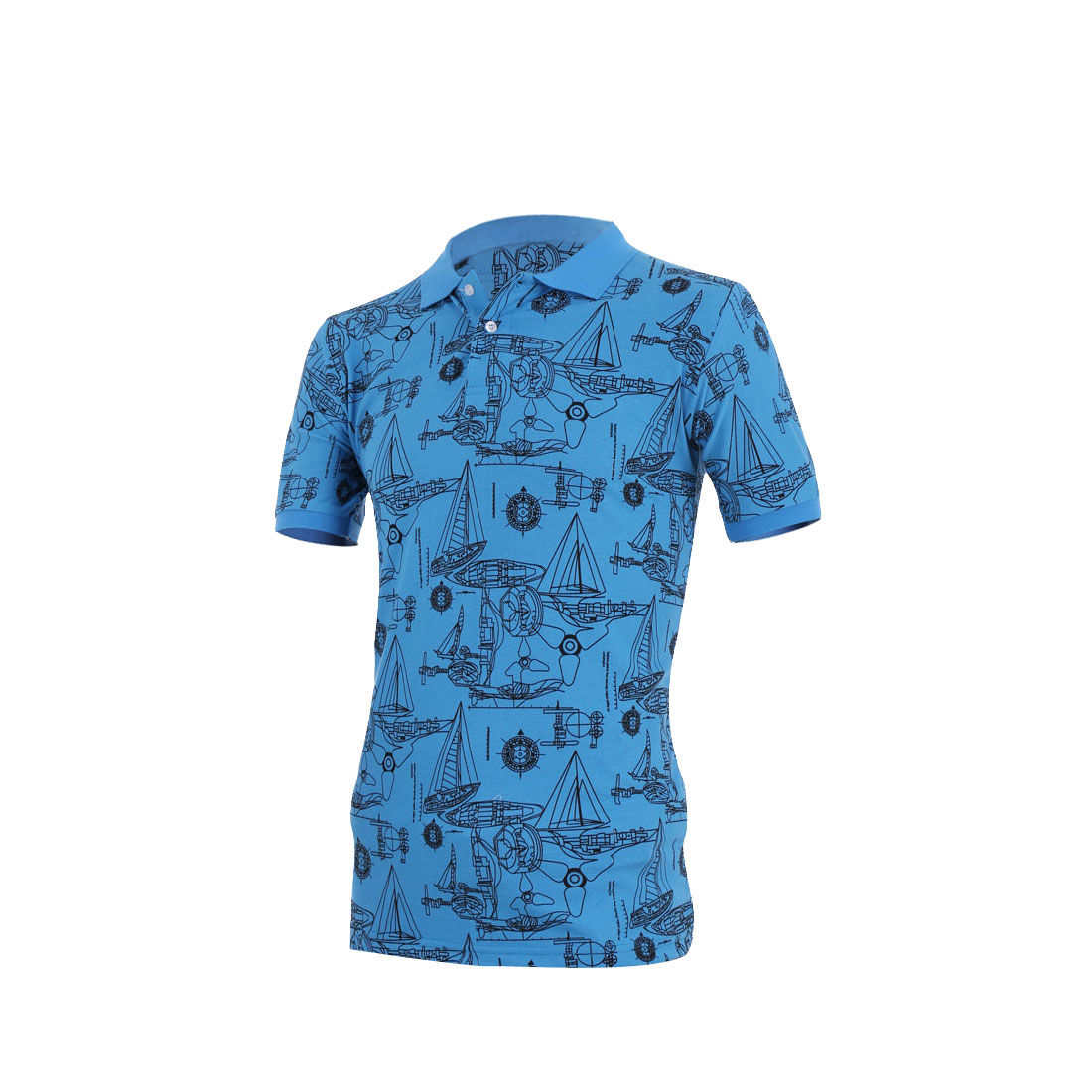 Men Pullover Short Sleeve Geometric Prints Shirt Sea Blue M