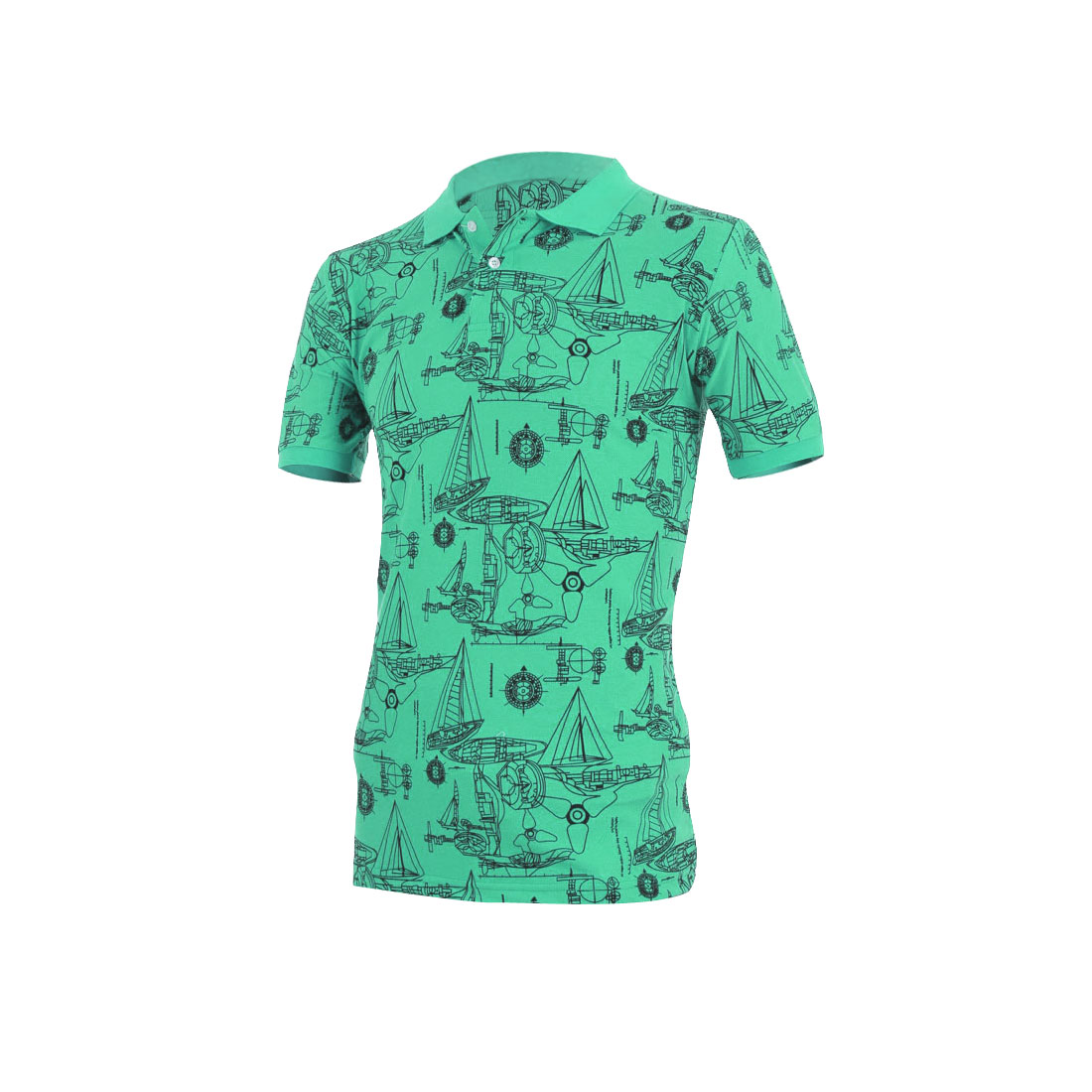 Men Short Sleeve Geometric Prints Stretchy Shirt Green M