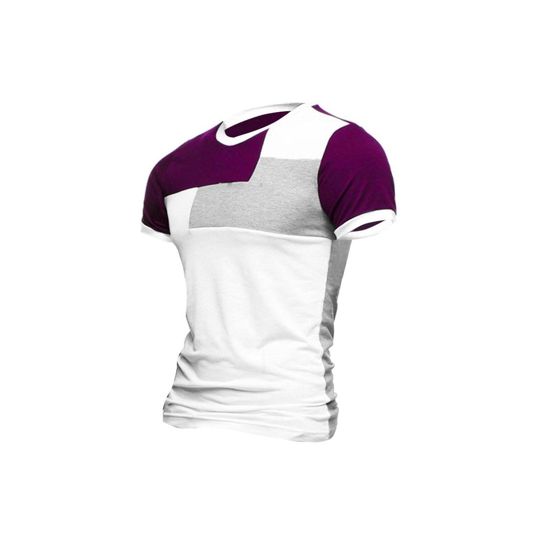 Men V Neck Pullover Short Sleeve Color Blocking Shirt Plum S