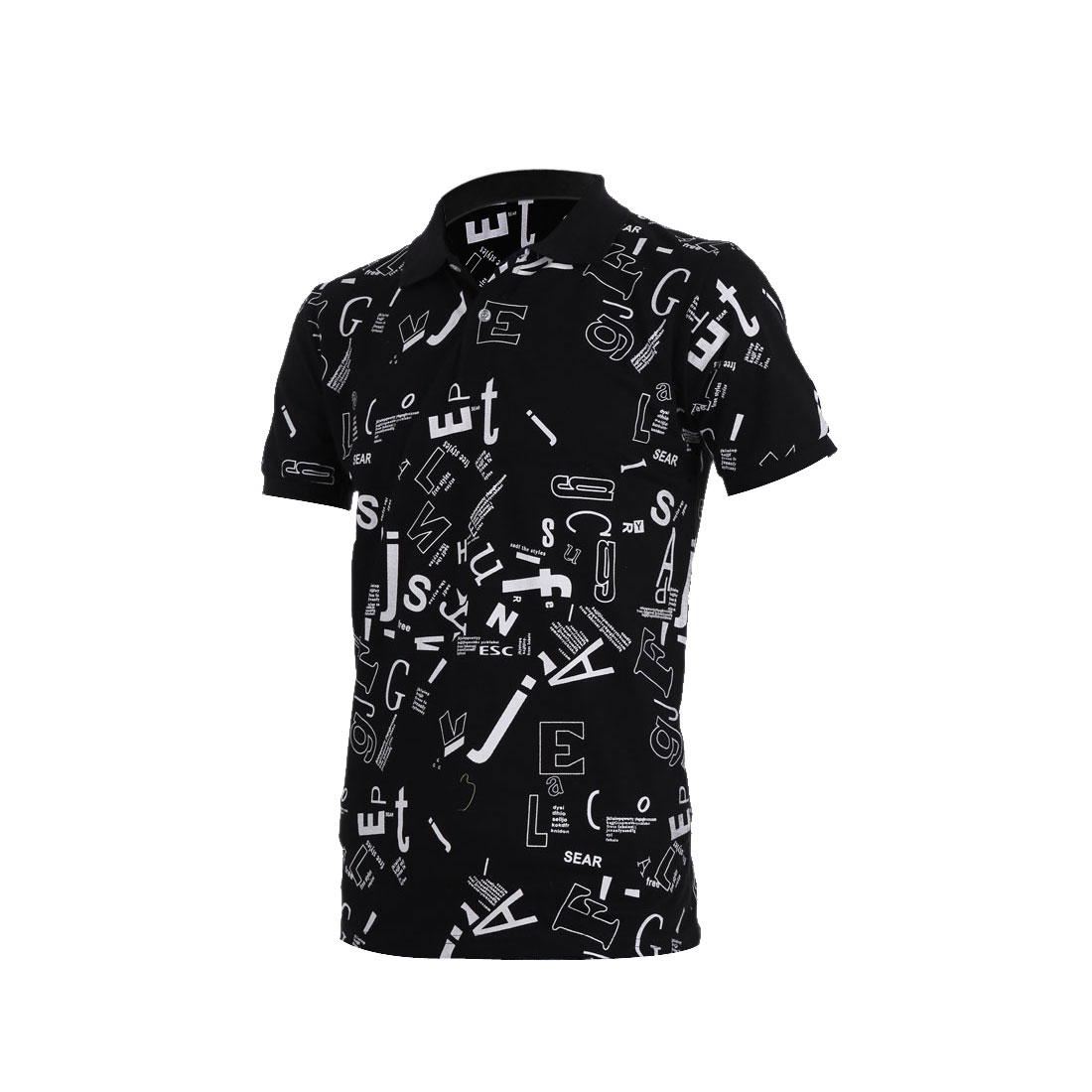 Men Leisure Letters Prints Pullover Short Sleeve Black Polo Shirt M
