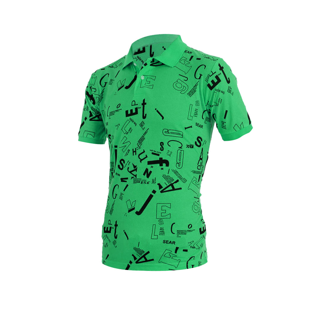 Men Summer Pullover Short Sleeve Letters Pattern Green Polo Shirt M