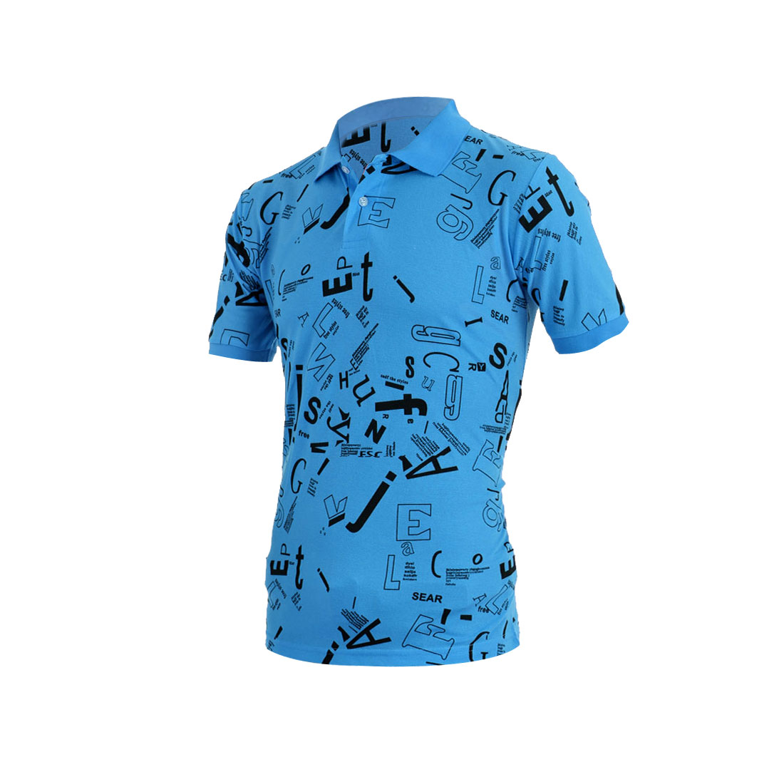 Men Fashion Letters Pattern Decor Point Collar Blue Polo Shirt M