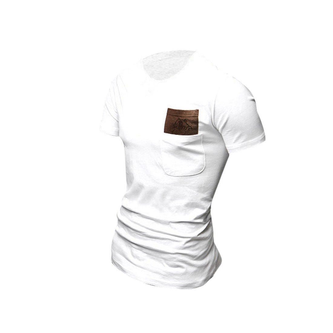 White S Breast Pockets Round Neck Short Sleeve Summer Men T-Shirt